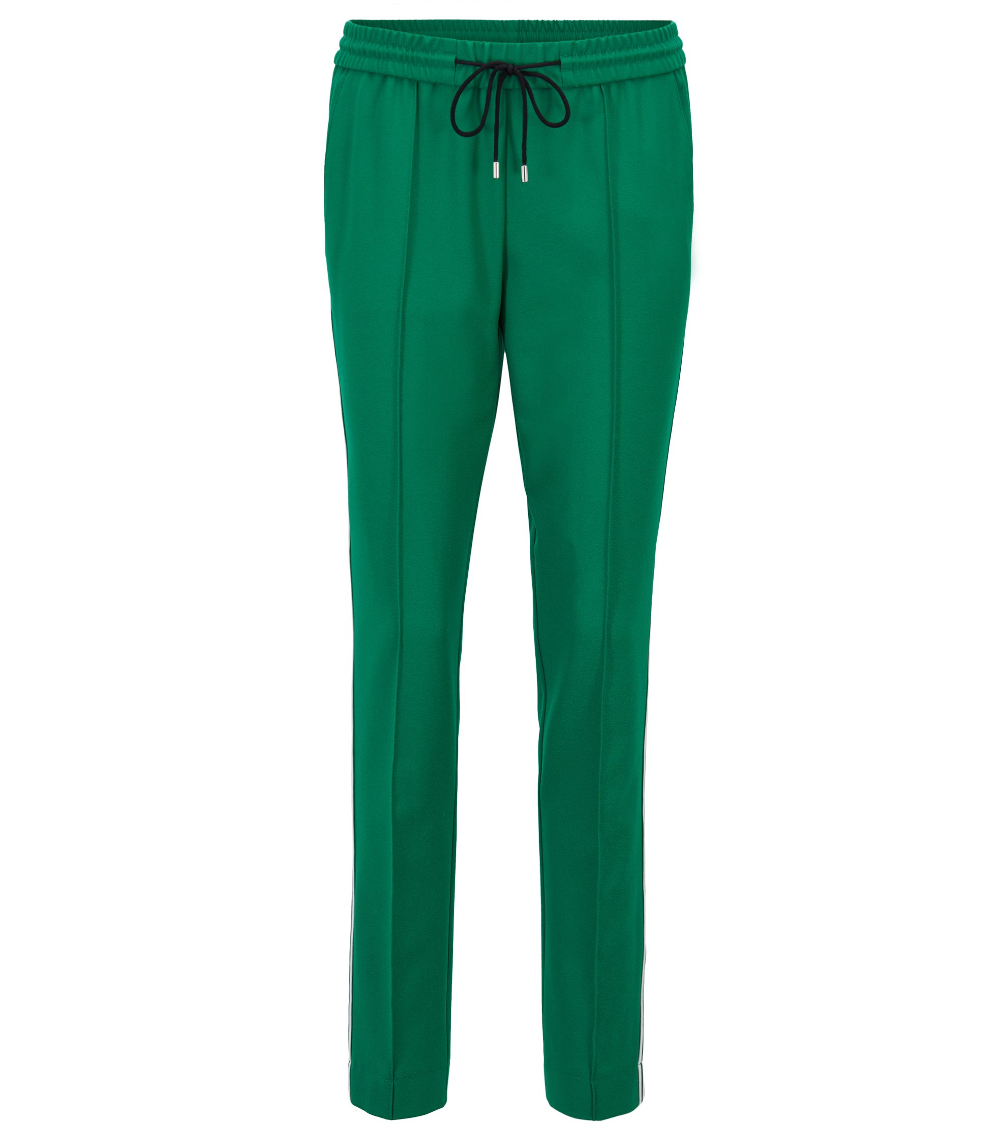 Relaxed-fit trousers in stretch crepe with drawstring waist, Open Green