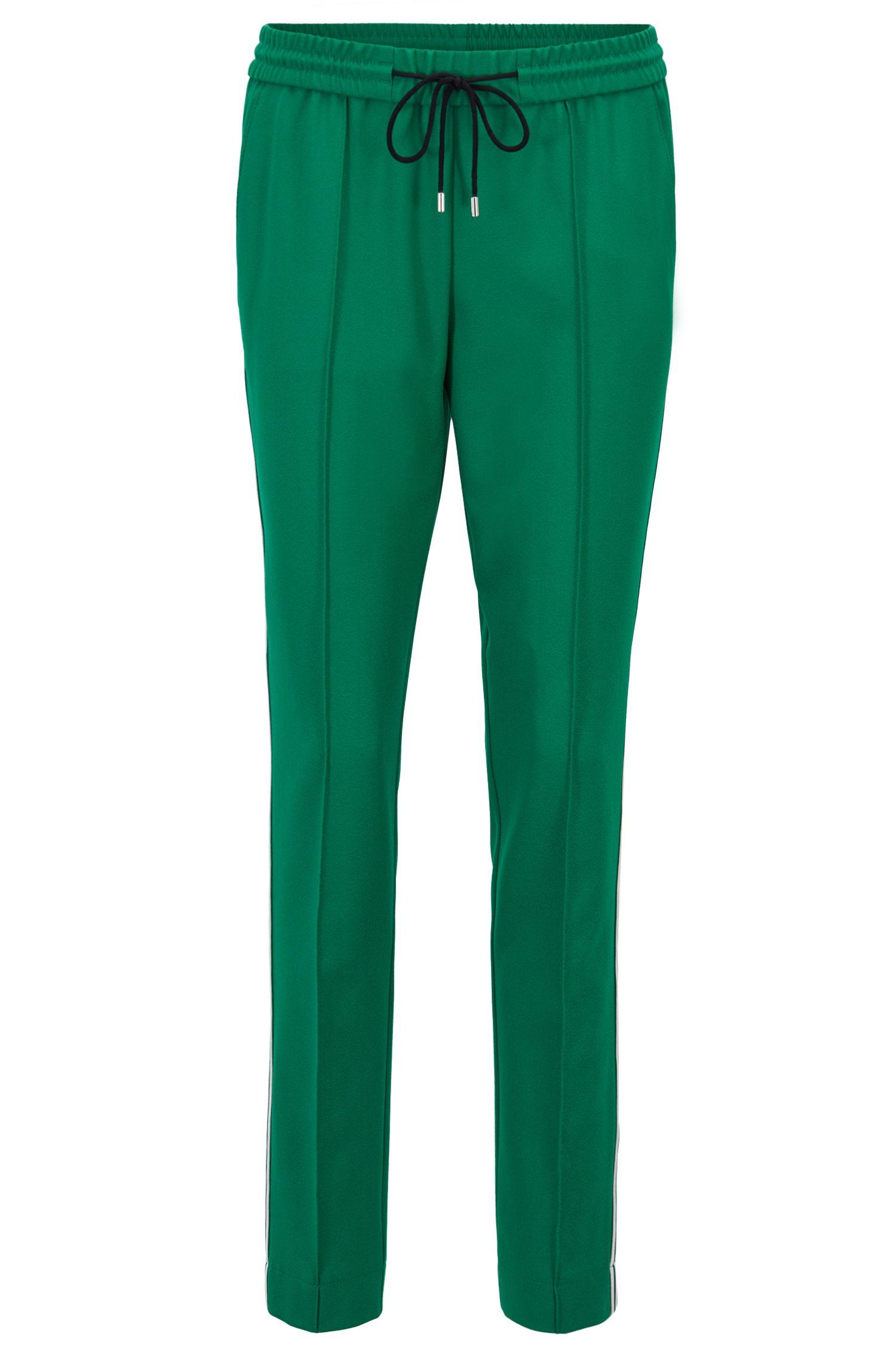 Pantalon Relaxed Fit en crêpe stretch, avec taille à cordon de serrage