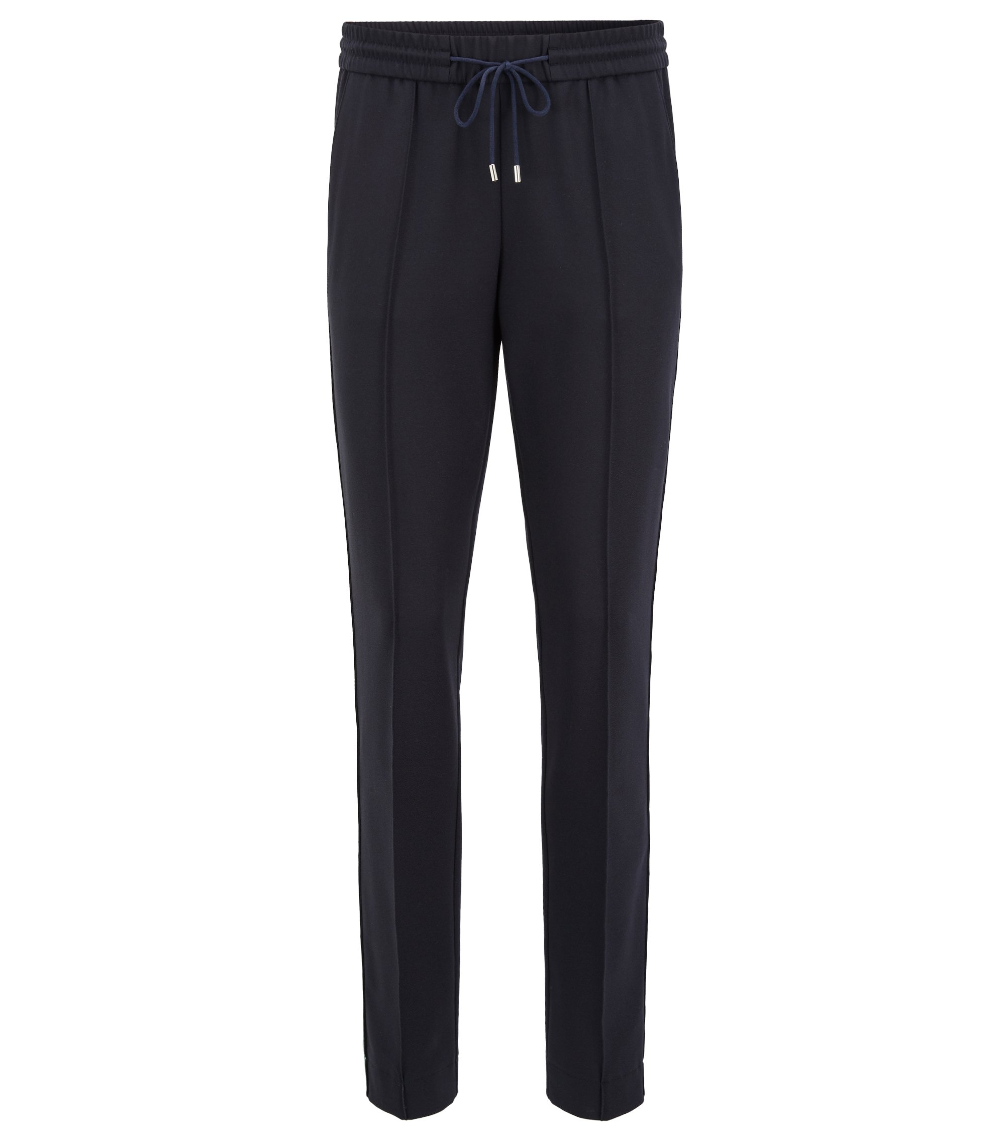 Relaxed-fit trousers in stretch crepe with drawstring waist, Dark Blue