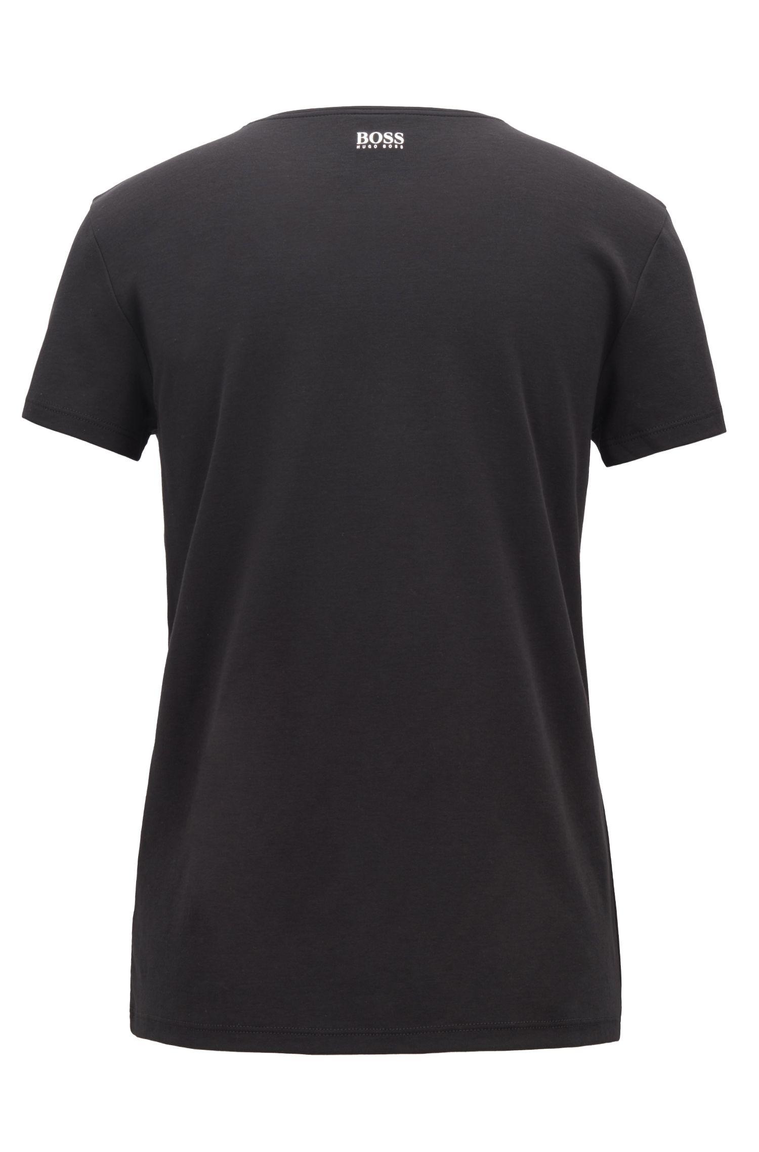 Slim-fit T-shirt met V-hals en hartvormige flockprint, Zwart