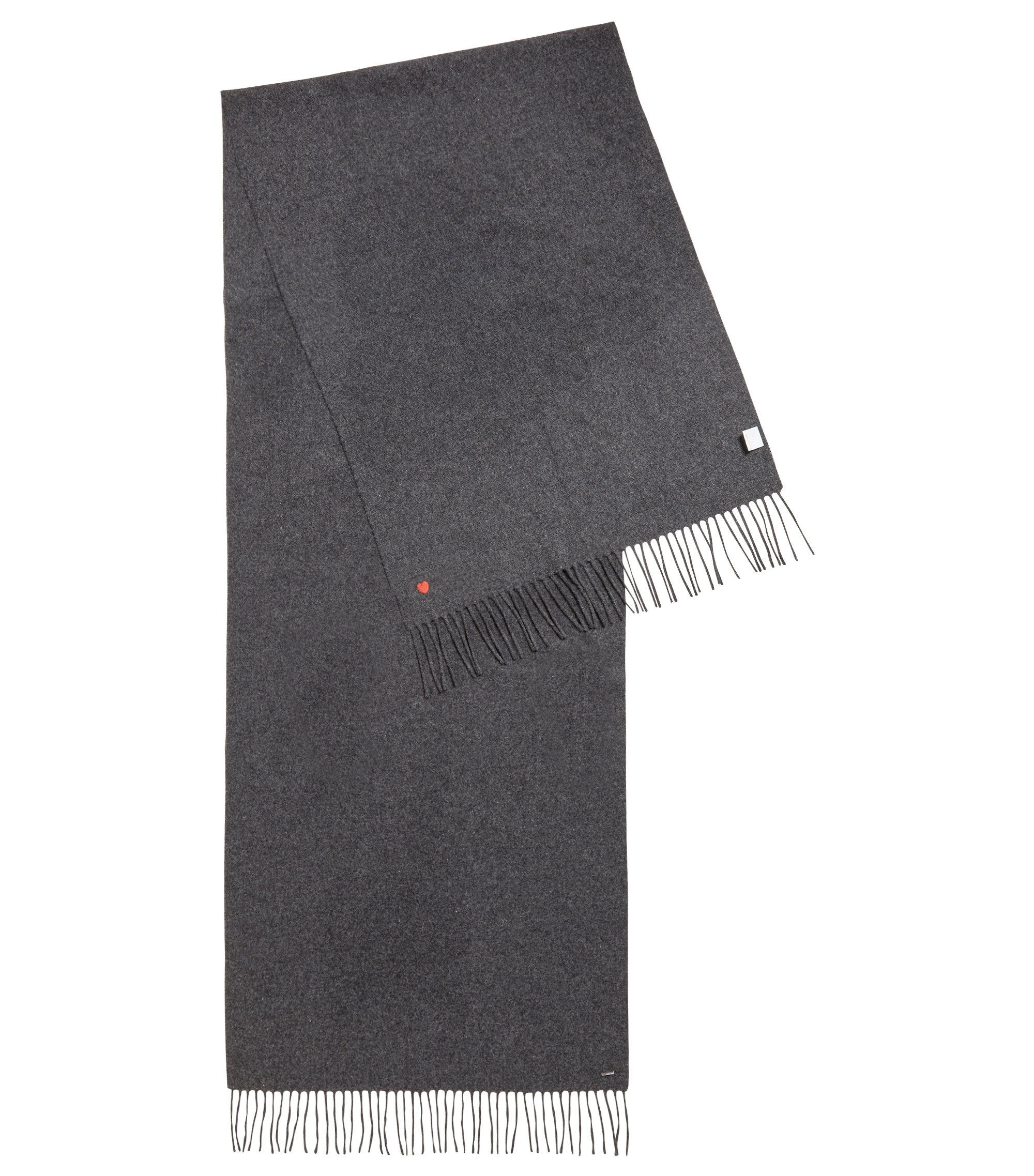 Fringed scarf in woven wool with contrast embroidered heart, Anthracite