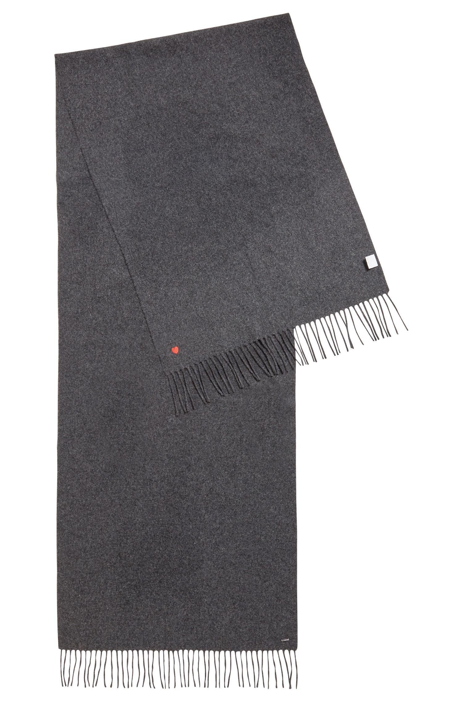 Fringed scarf in woven wool with contrast embroidered heart
