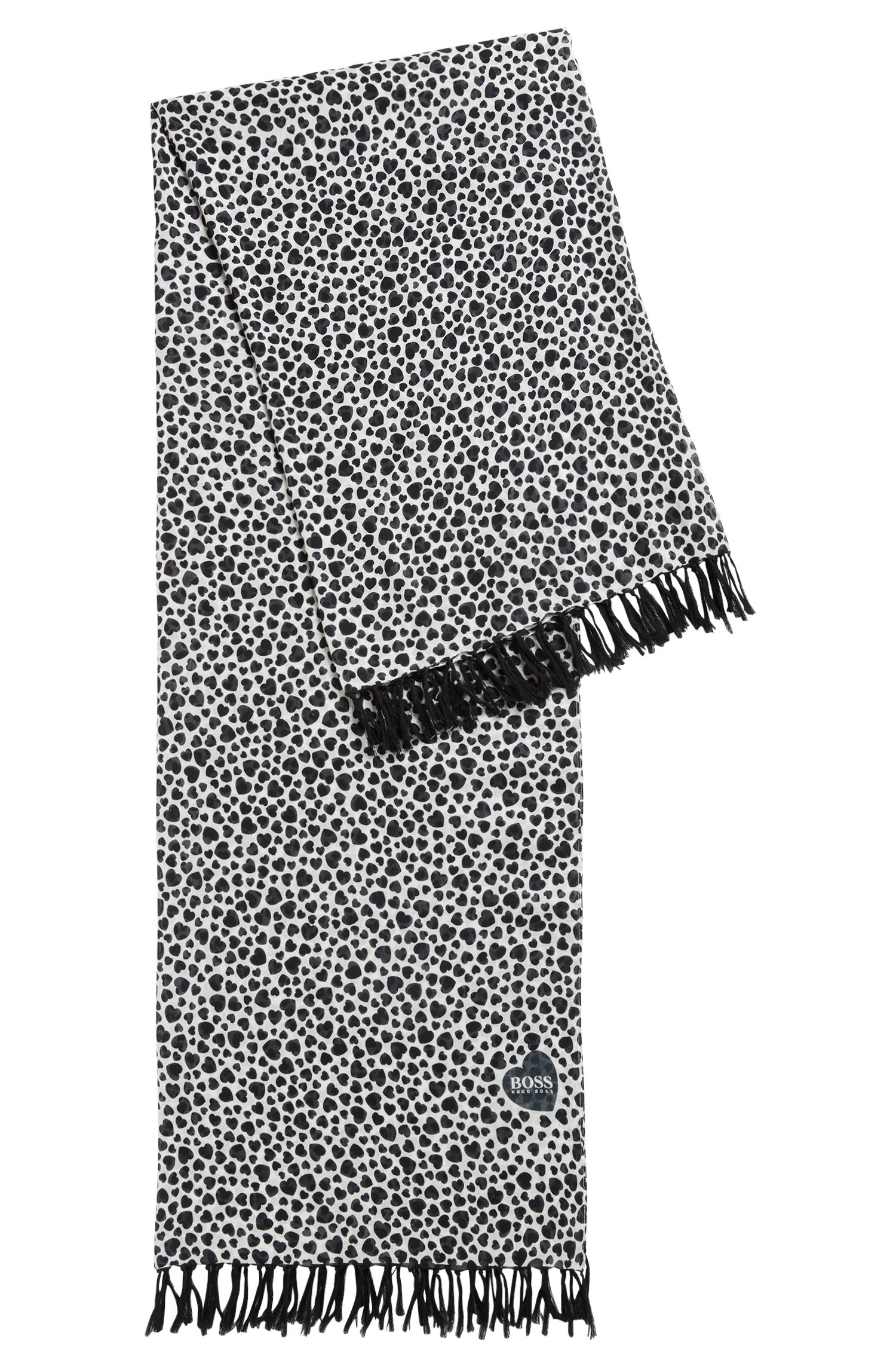 Heart-print scarf in a cotton blend with fringing, Patterned