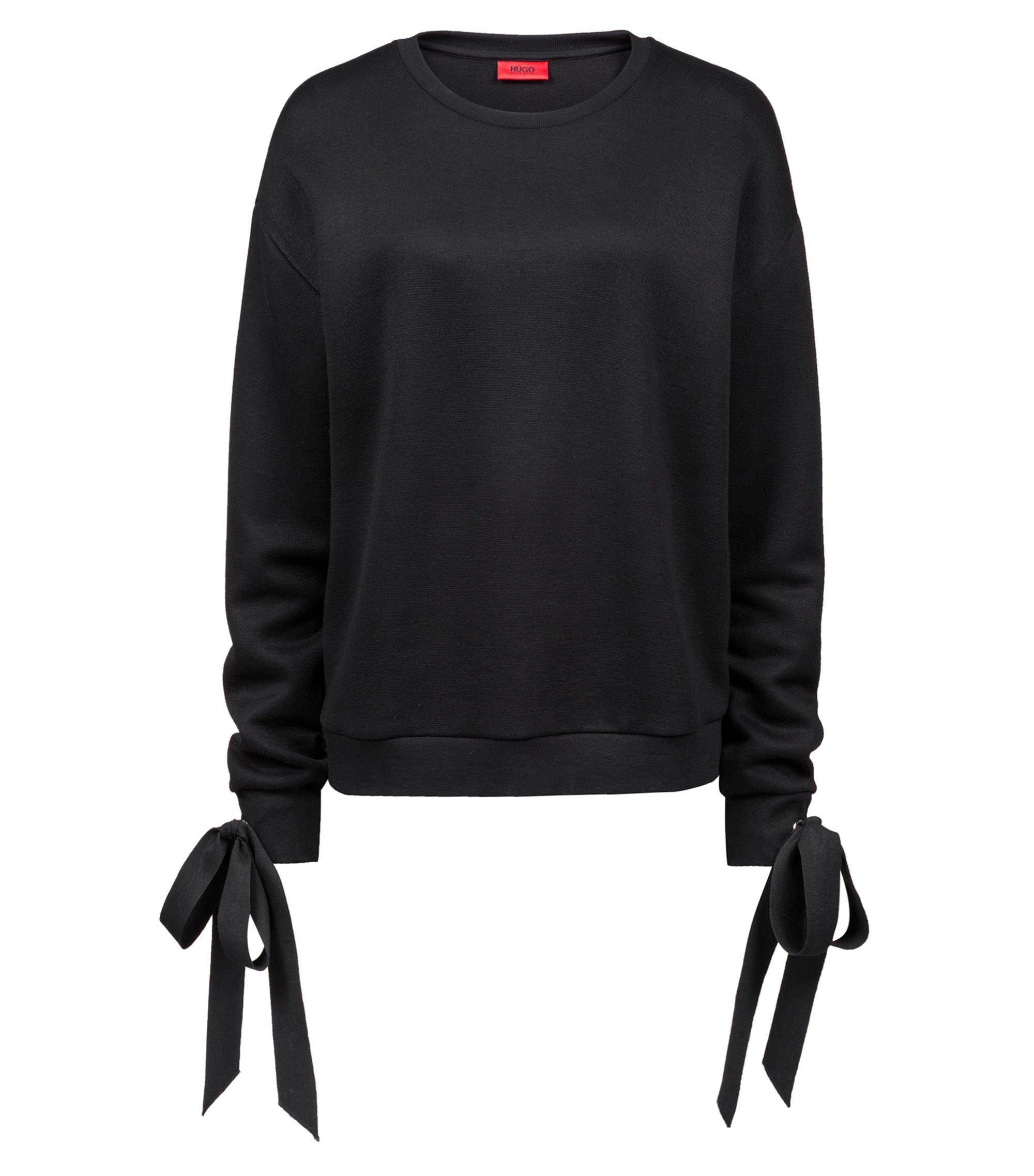 Sweatshirt aus Jersey mit Bändern an den Bündchen, Schwarz