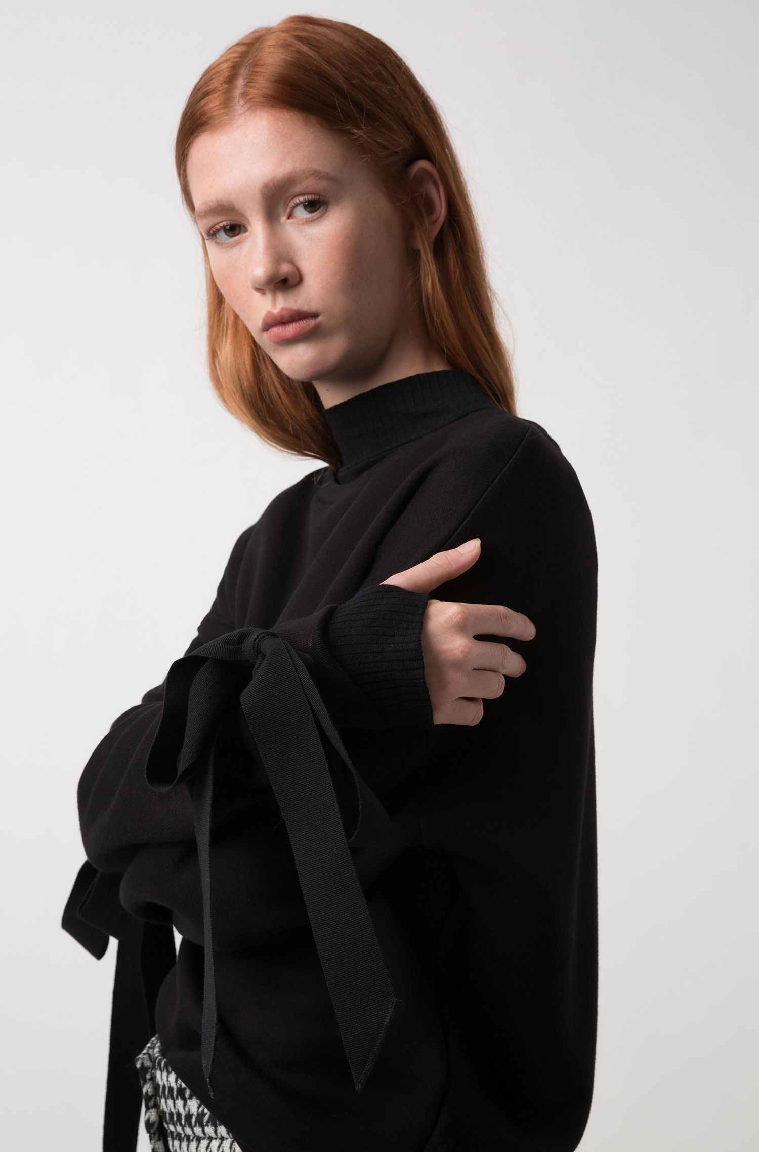 Relaxed-fit jersey sweatshirt with cuff-tie detail, Black