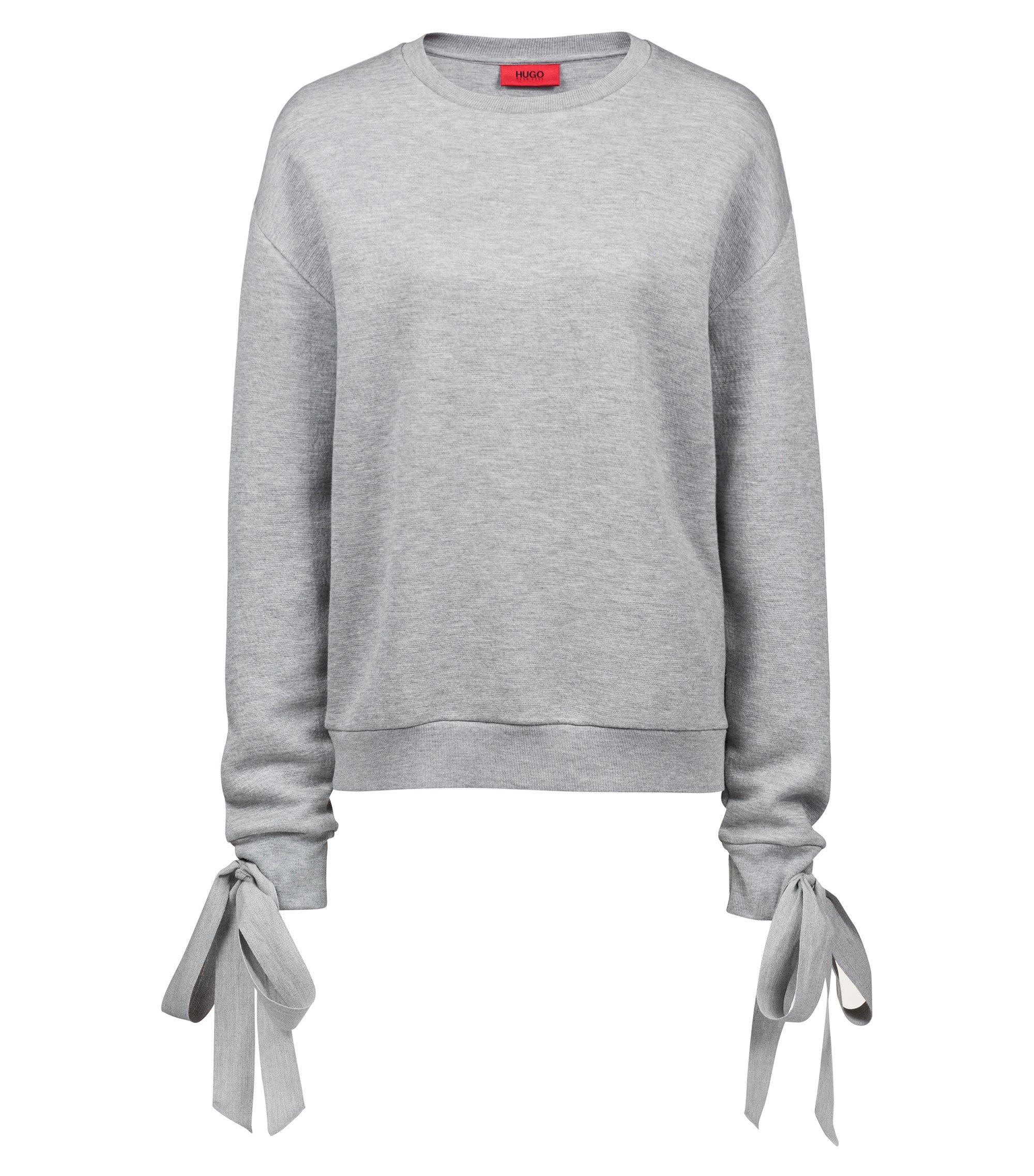 Relaxed-fit jersey sweater met strikdetail aan de mouwboorden, Grijs