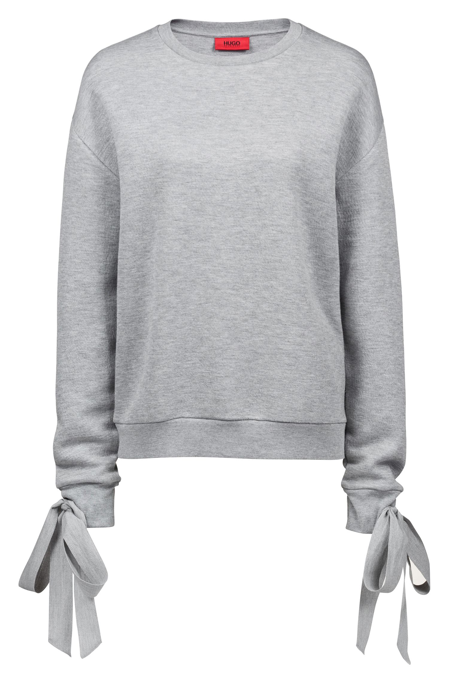 Relaxed-fit jersey sweatshirt with cuff-tie detail, Grey