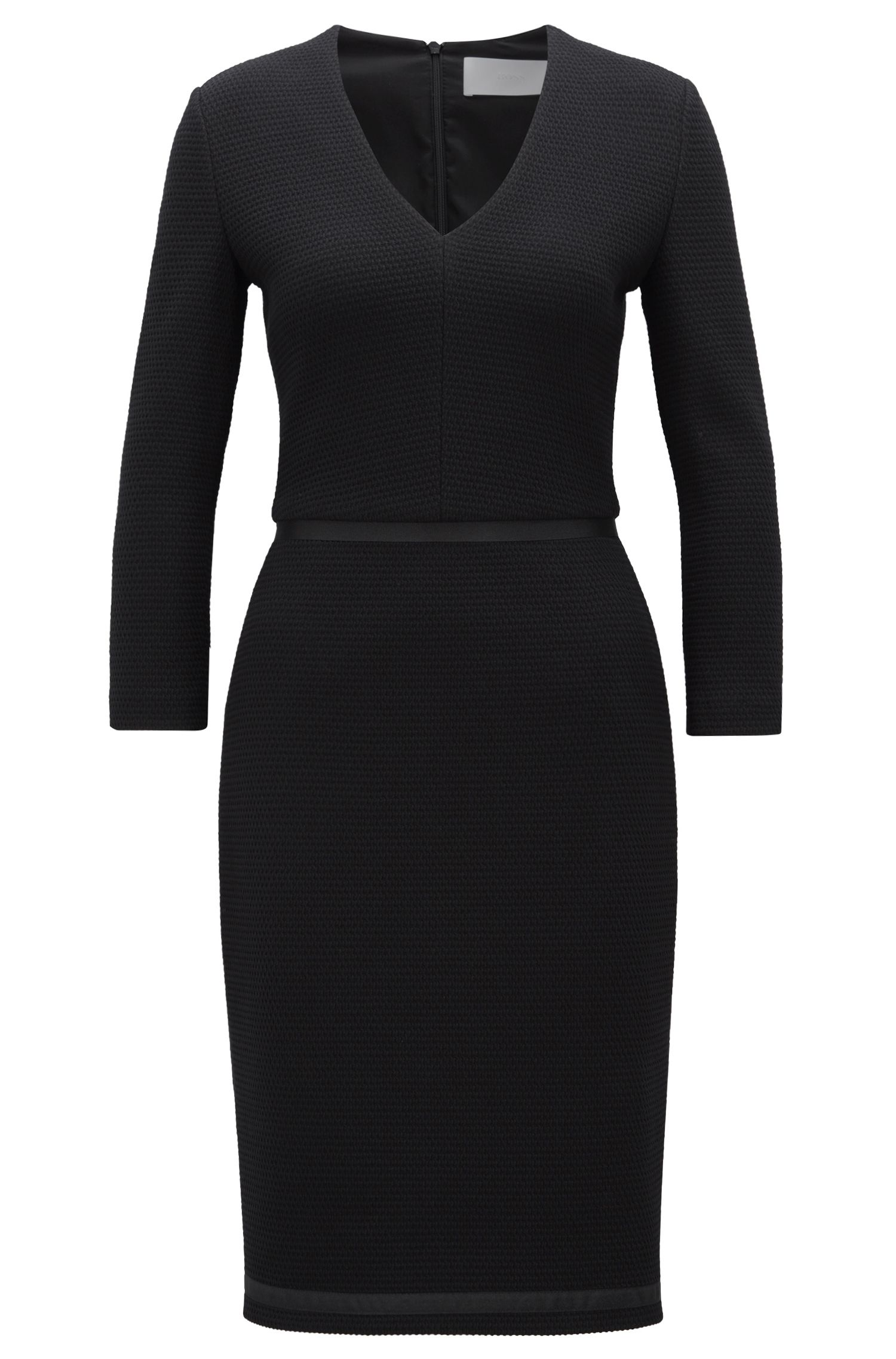 Robe droite à col V en jersey structuré, ornée de rubans, Noir