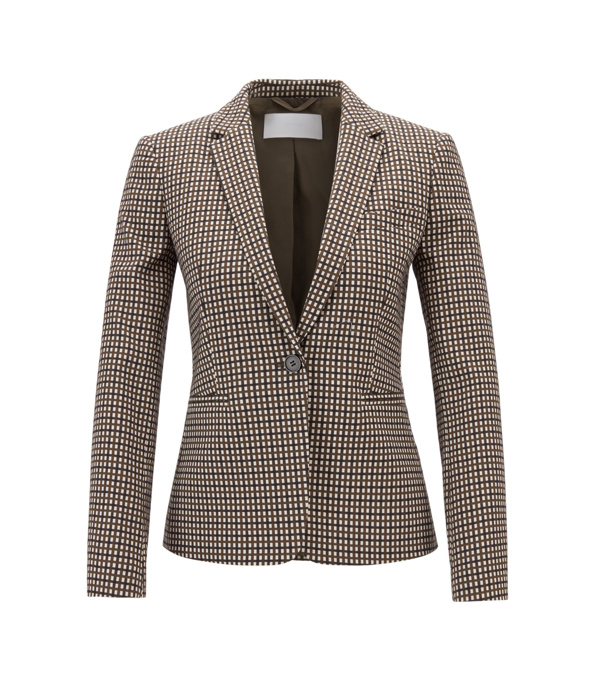 One-button blazer in stretch fabric with micro check, Patterned