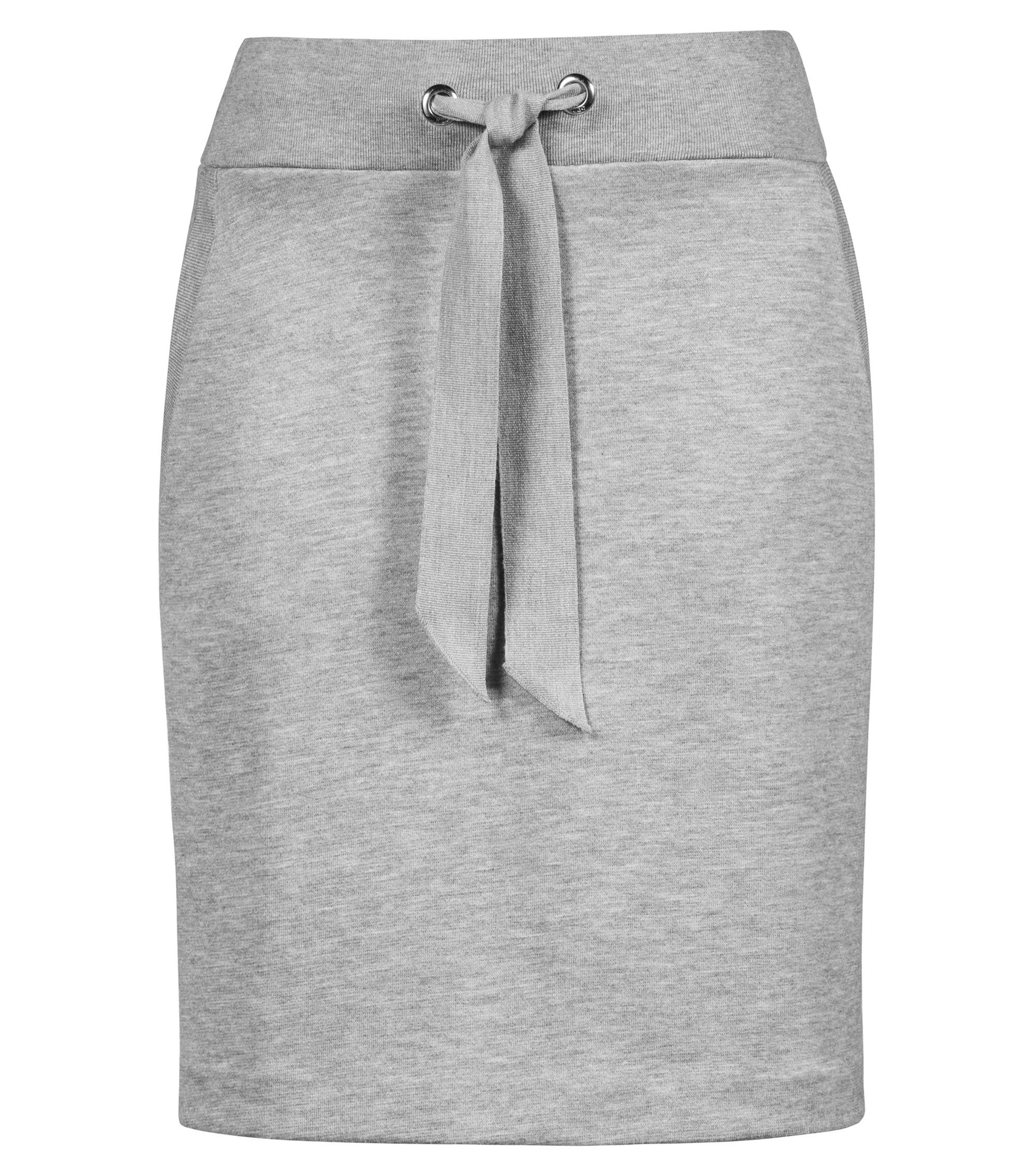 Jersey miniskirt with tie-detail waistband and metallic eyelets, Grey