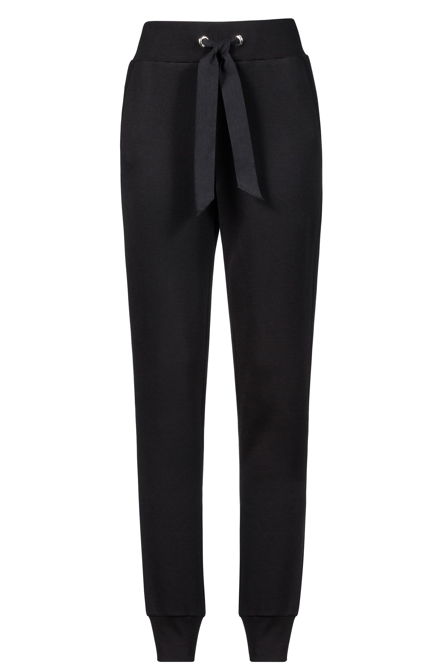 Slim-fit jersey trousers with tie-waist detail, Black