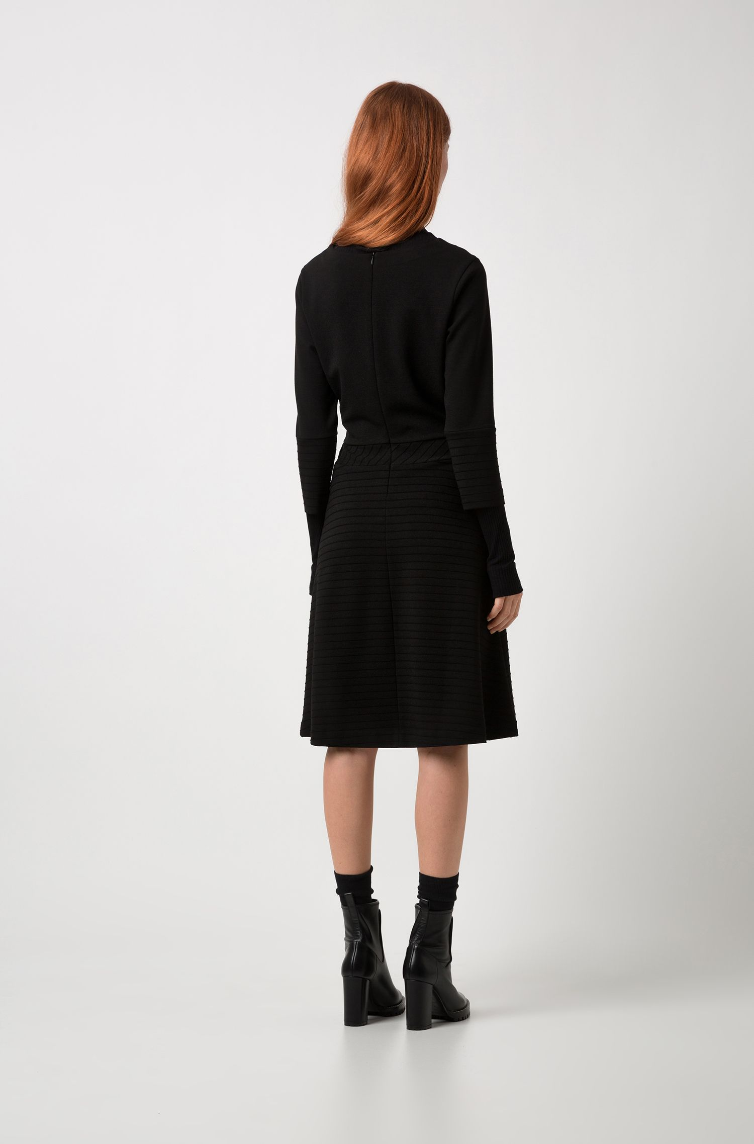 A-line jersey dress with long sleeves and ottoman structures, Black
