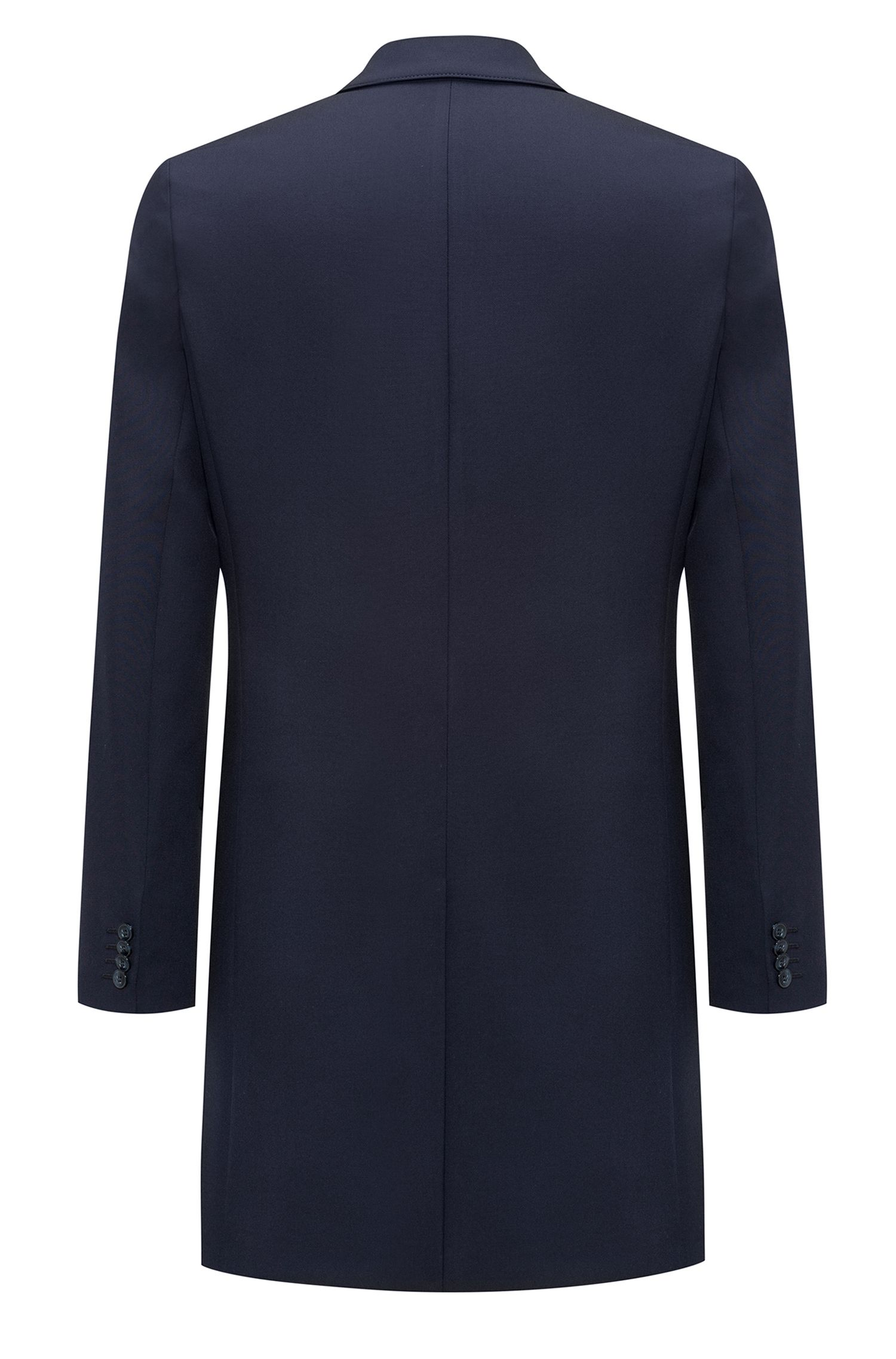 Slim-fit mantel van stretchmateriaal met notch-revers, Donkerblauw