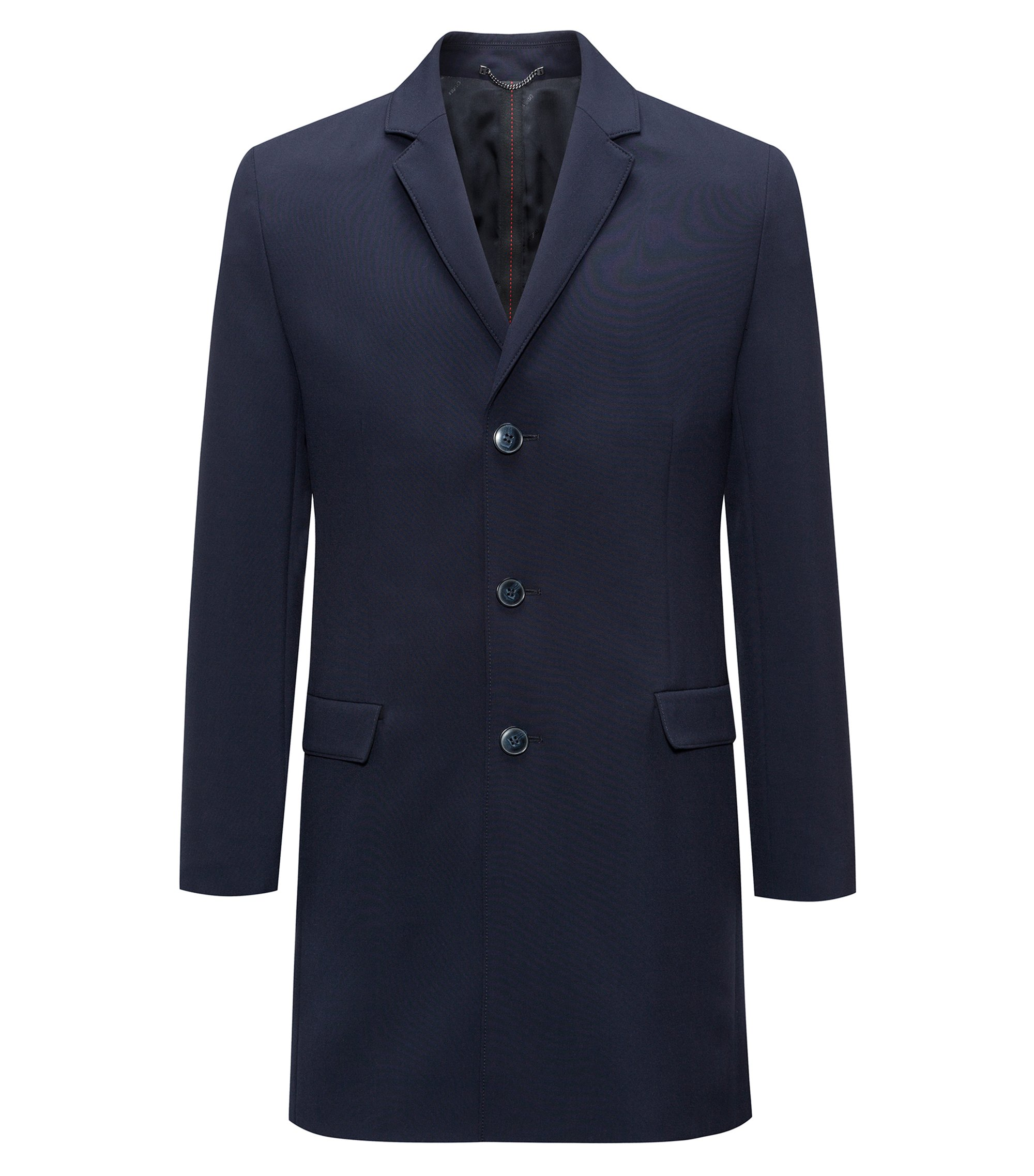 Slim-fit coat in stretch fabric with notch lapels, Dark Blue