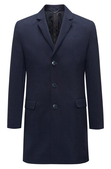 Slim-fit coat in stretch fabric with notch lapels, Dark Blue b3f9c06f85c