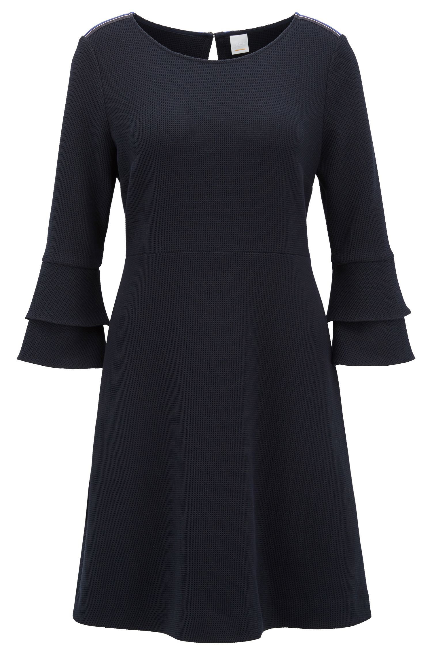 Bell-sleeve dress in structured stretch fabric, Dark Blue
