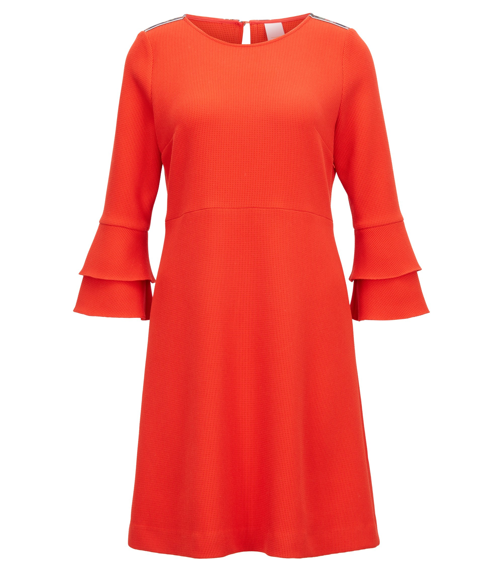 Bell-sleeve dress in structured stretch fabric, Red