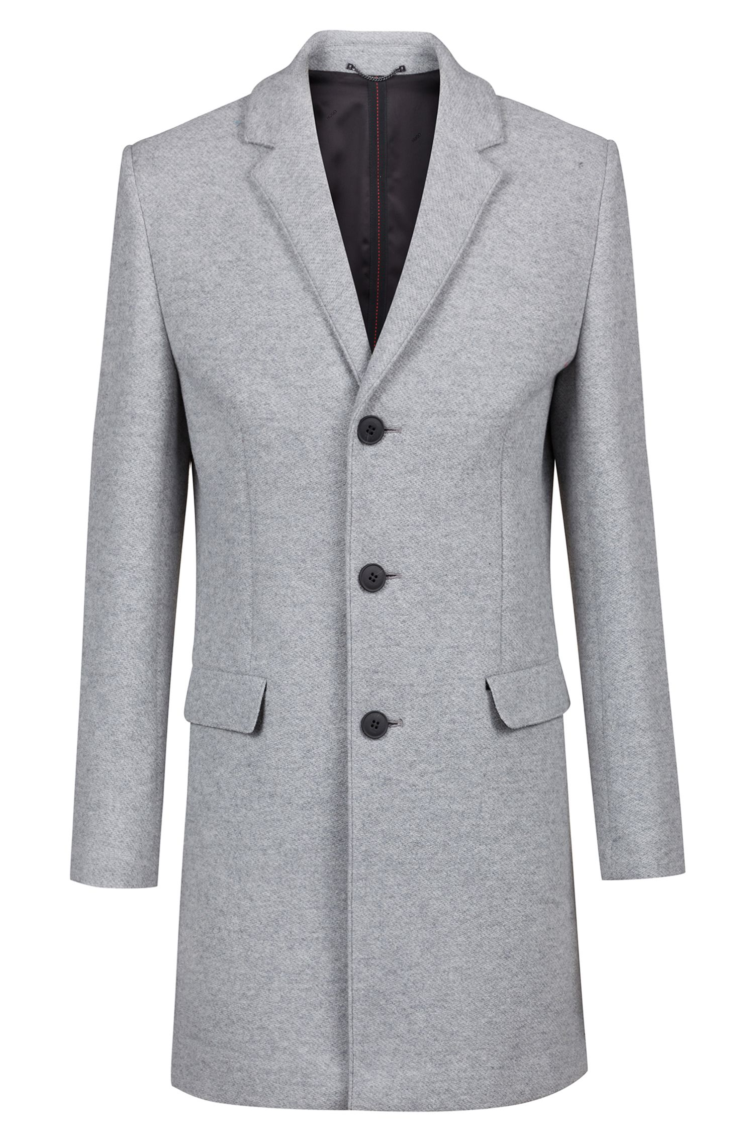 Slim-fit coat in melange fabric, Grey