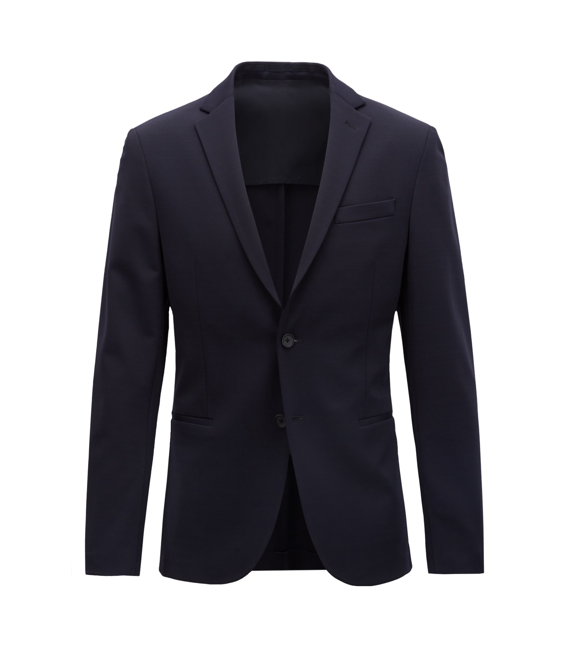 Slim-fit blazer in technical fabric with stretch lining, Dark Blue