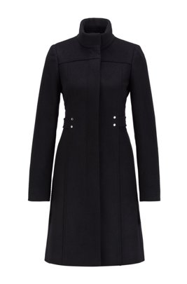 Virgin-wool-blend coat with hardware-trimmed belt, Black