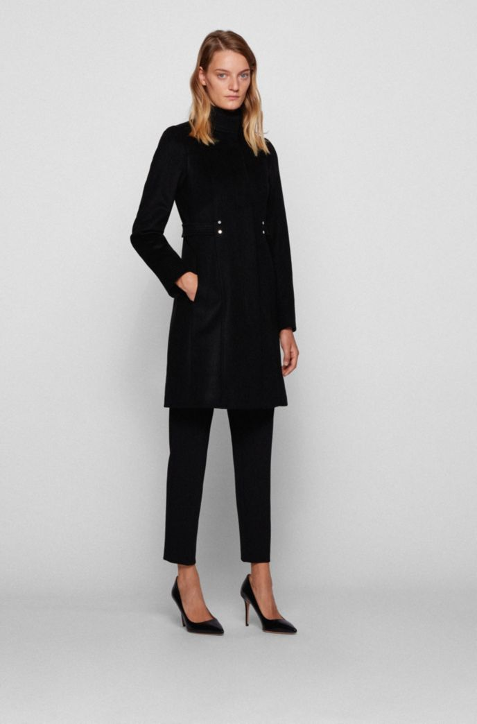 Virgin-wool-blend coat with hardware-trimmed belt