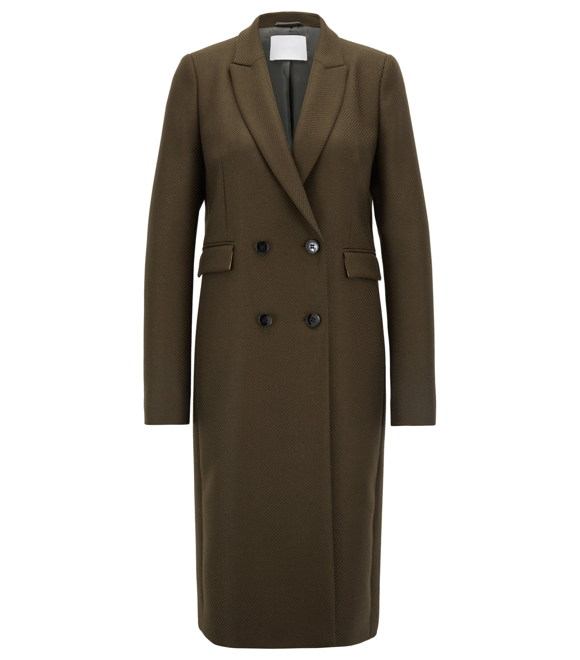 Double-breasted coat in Italian virgin-wool twill, Green