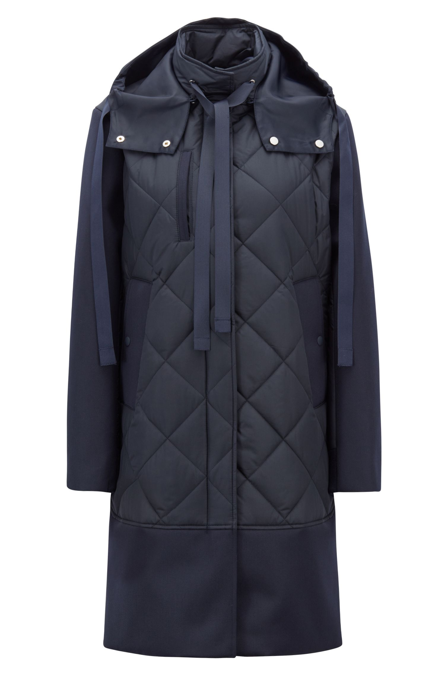 Quilted jacket in Italian technical fabric with detachable hood, Blue