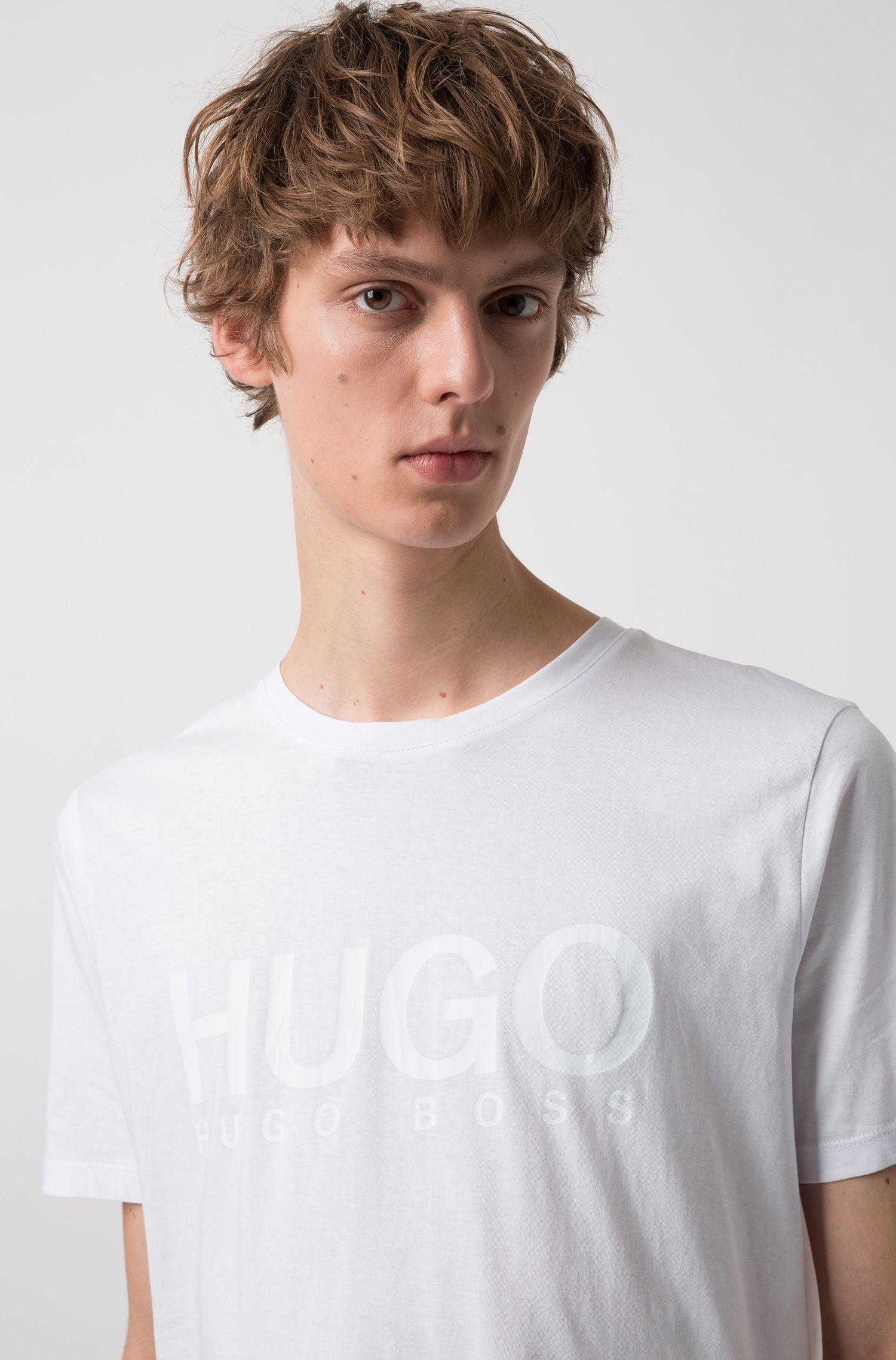 T-Shirt aus Single Jersey mit Logo, Weiß