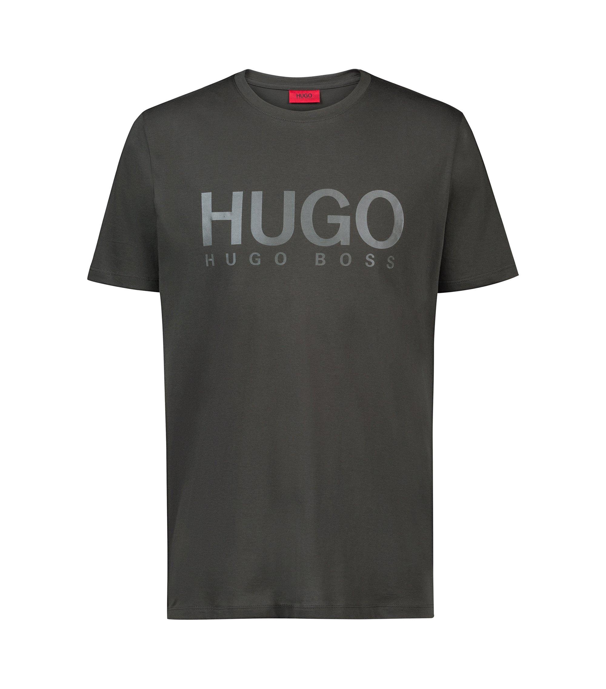Logo-T-shirt van katoenen singlejersey, Donkergroen