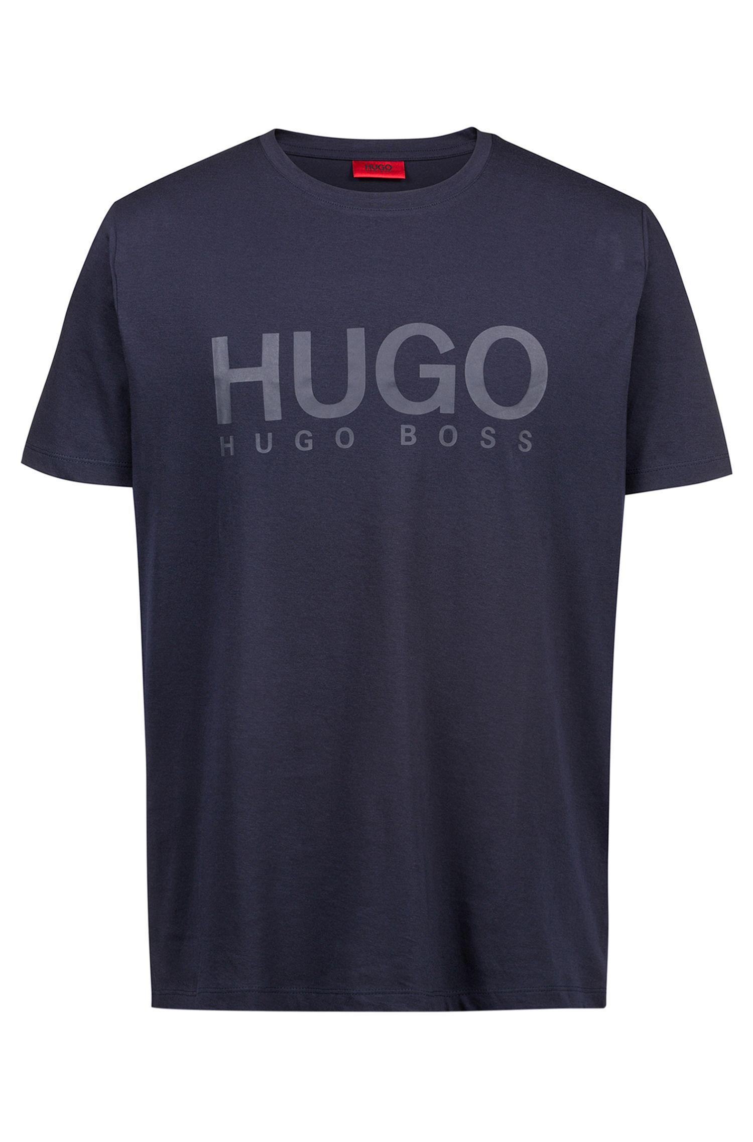T-Shirt aus Single Jersey mit Logo, Dunkelblau