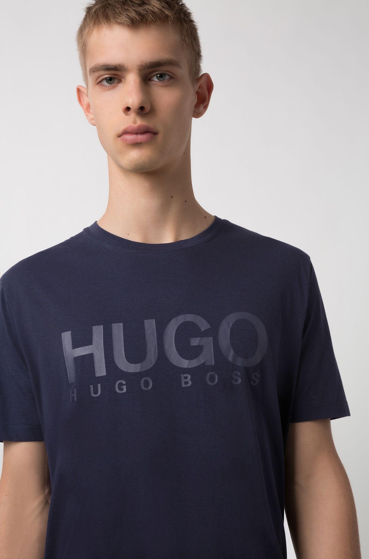 Camiseta con logo en algodón de punto sencillo, Azul oscuro