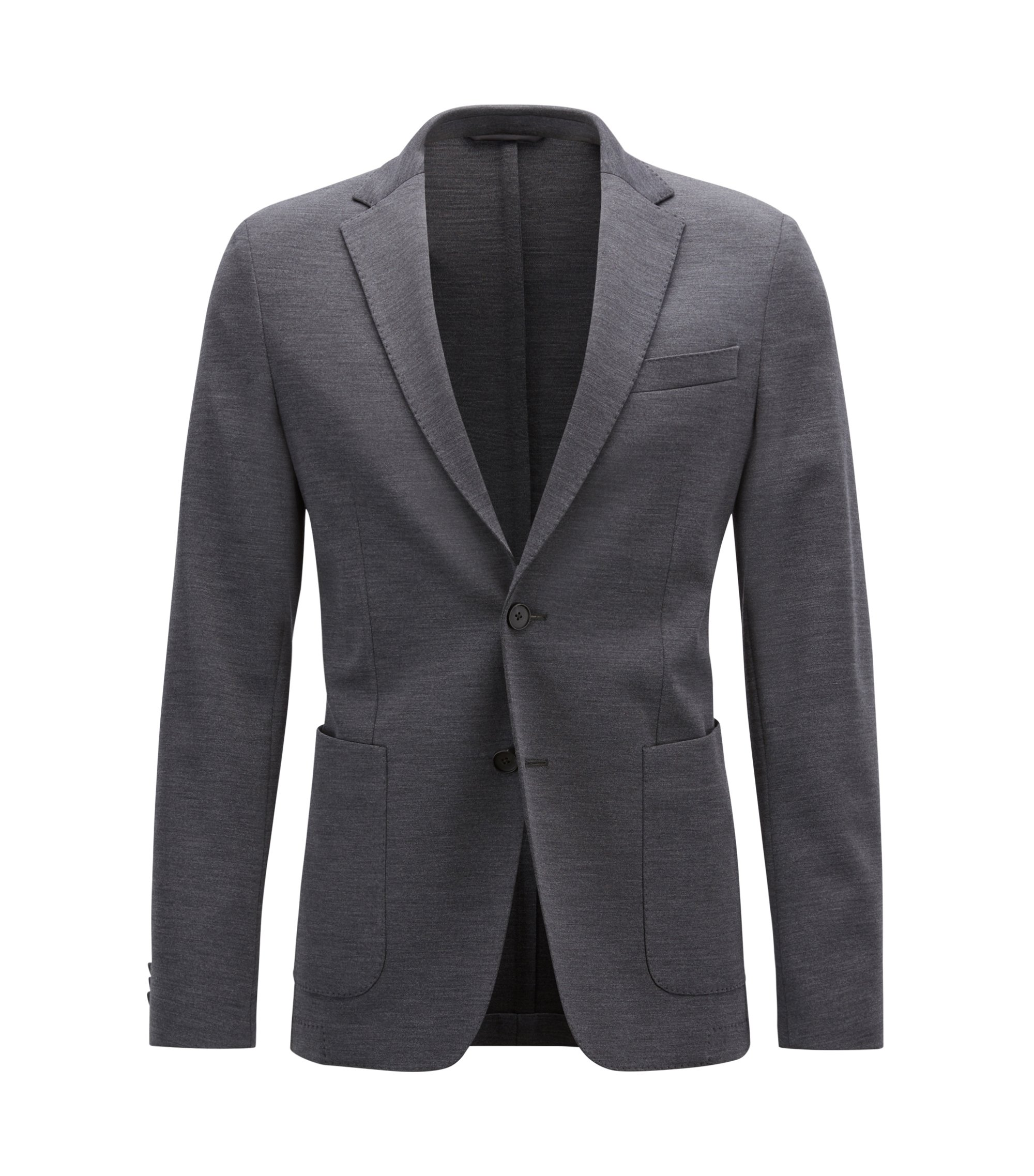 Slim-fit blazer in a stretch virgin-wool blend, Dark Grey