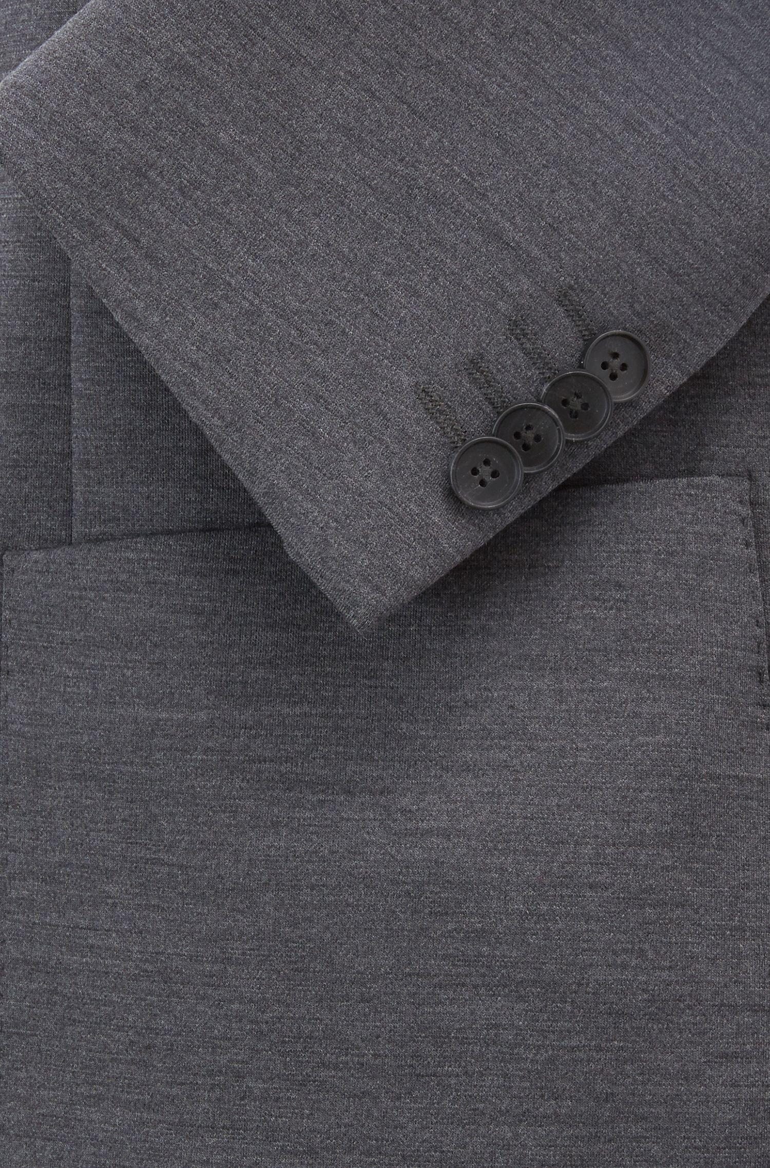 Blazer Slim Fit en laine vierge mélangée stretch, Gris sombre