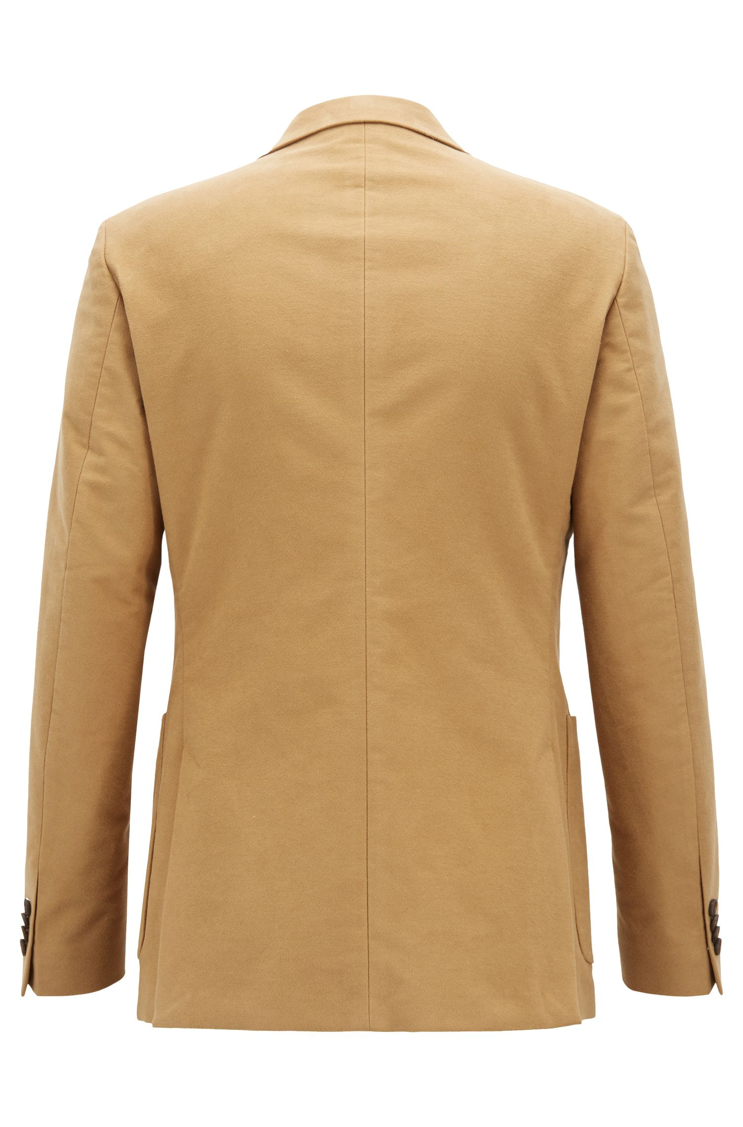 Blazer croisé Slim Fit en coton stretch, Beige