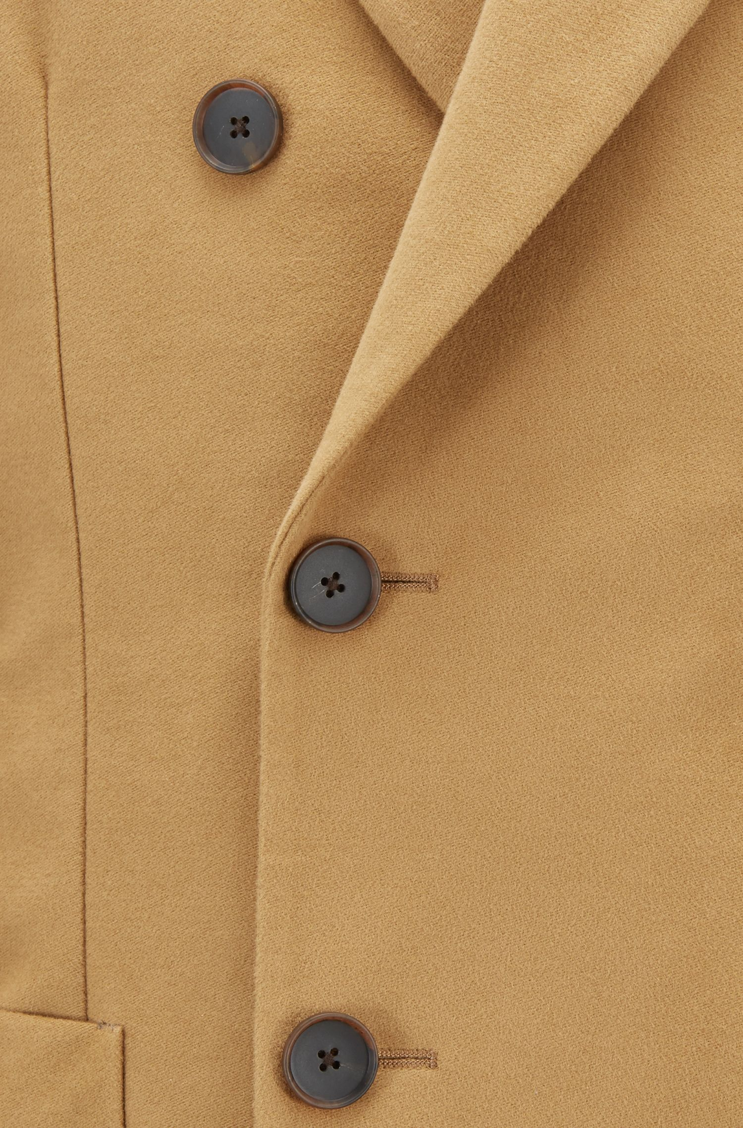 Slim-fit double-breasted blazer in stretch cotton, Beige