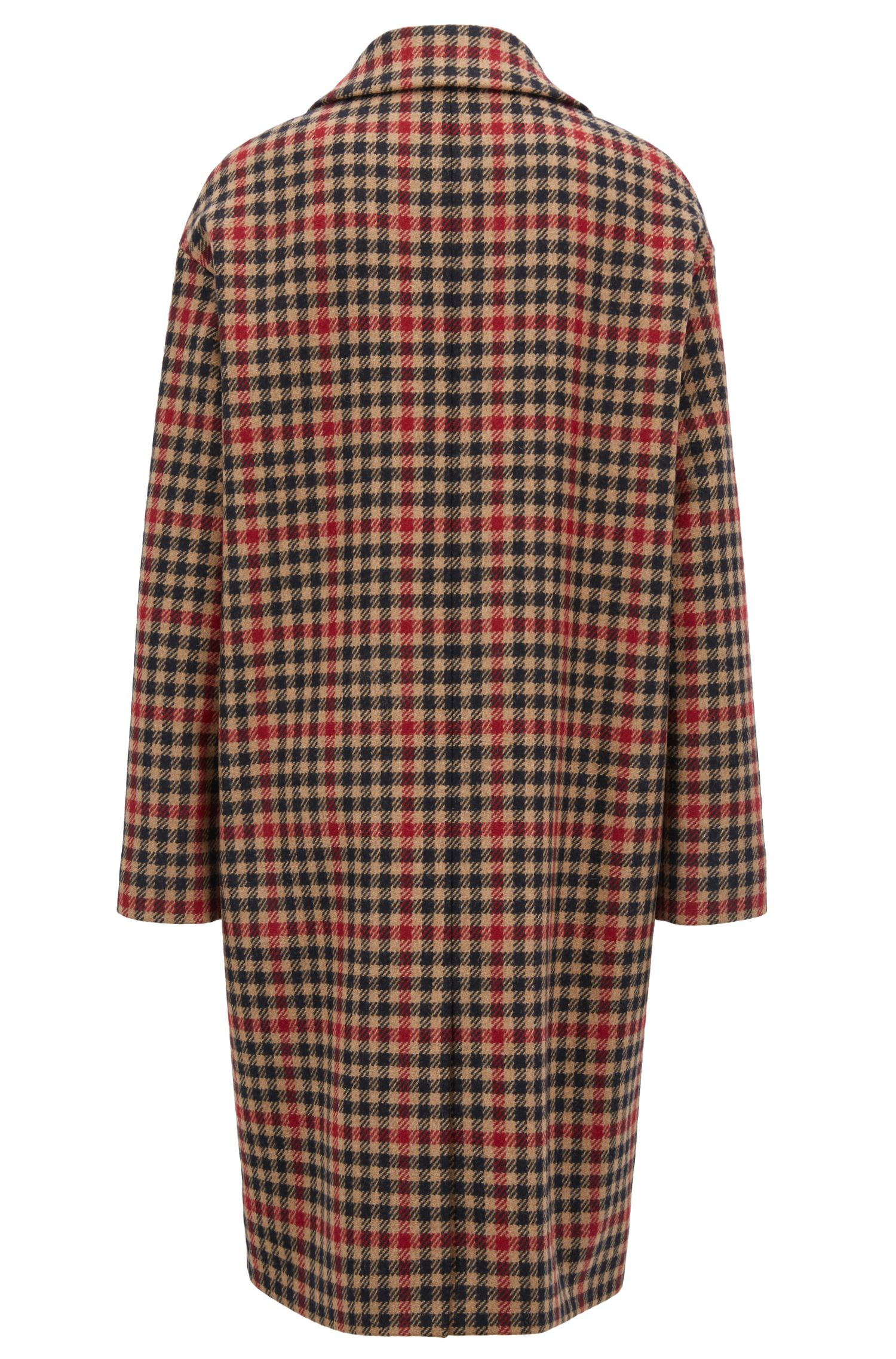 Oversized-fit wool-blend coat in houndstooth jacquard, Patterned