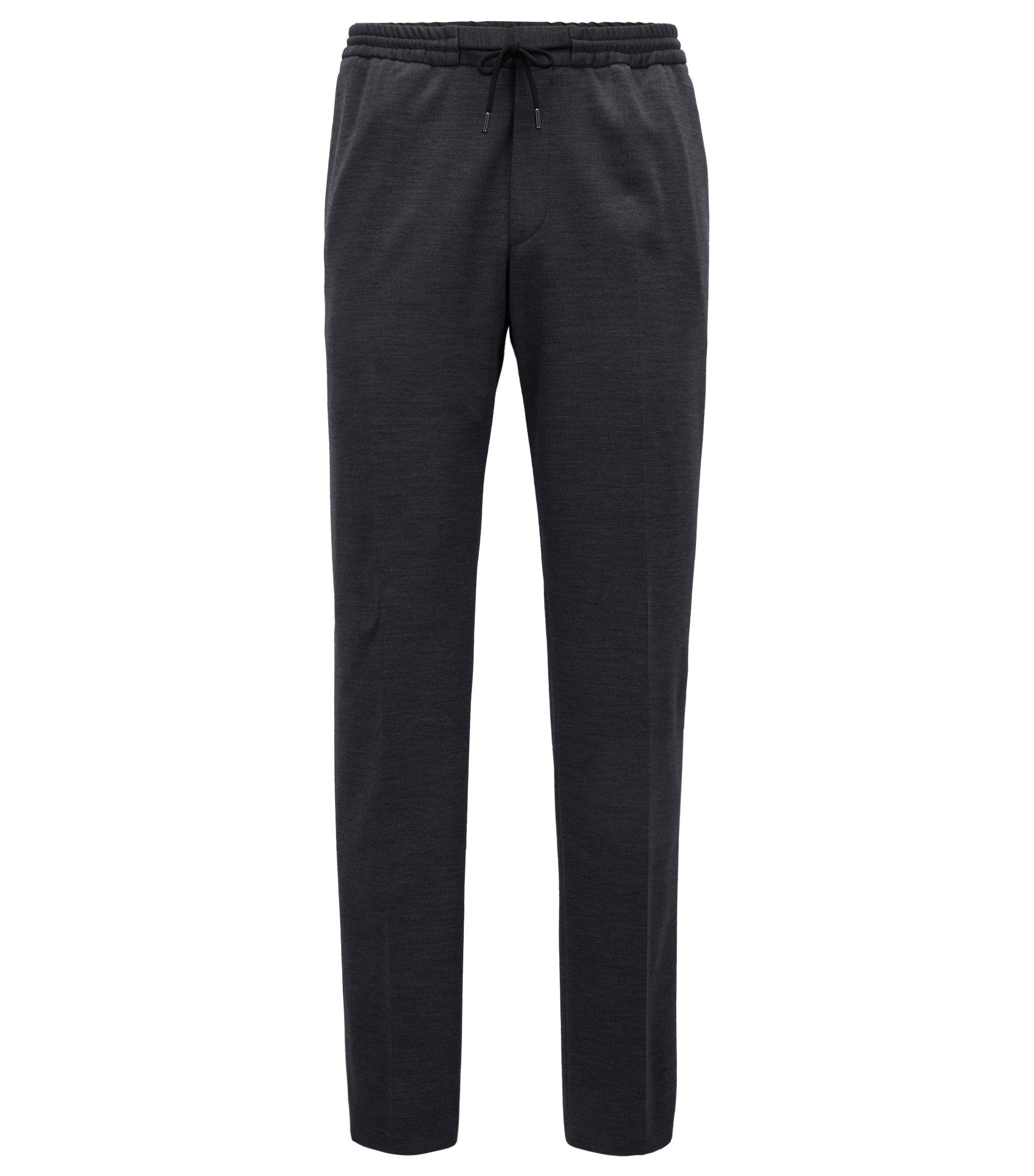 Pantalon en laine vierge mélangée doté d'une taille élastique, Gris sombre