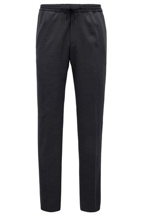 0e221667accb BOSS - Pantalon en laine vierge mélangée doté d une taille élastique