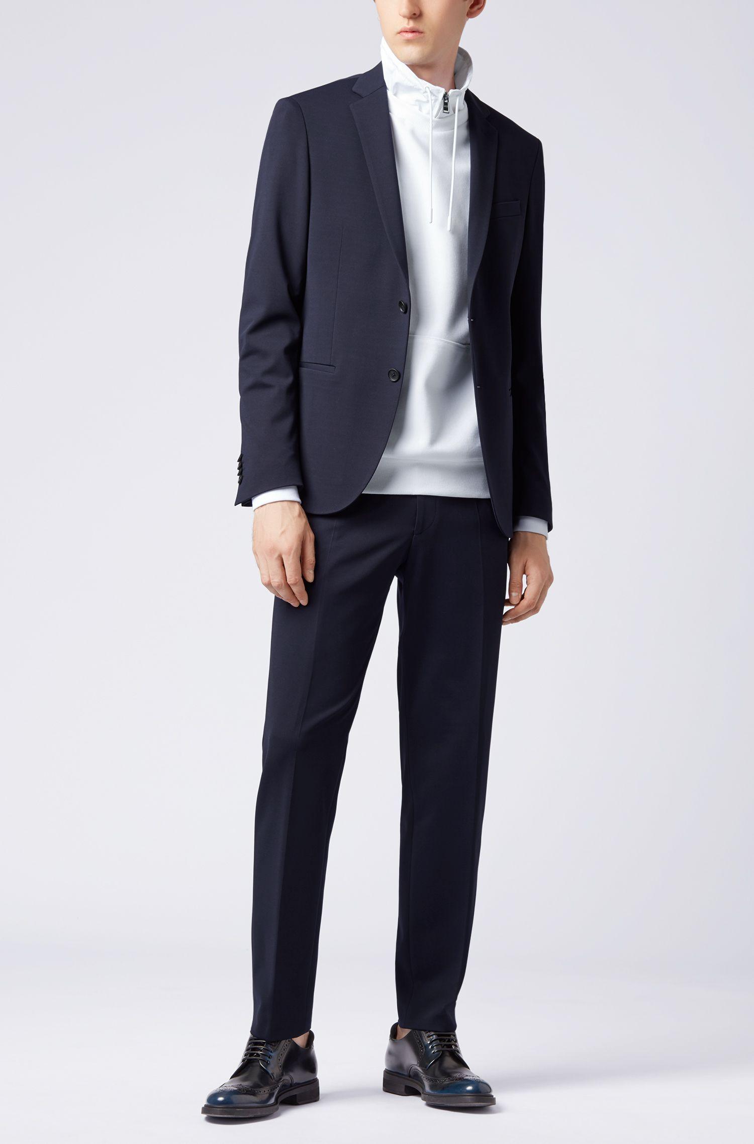 Slim-Fit Hose aus Stretch-Gewebe mit elastischem Bund, Dunkelblau