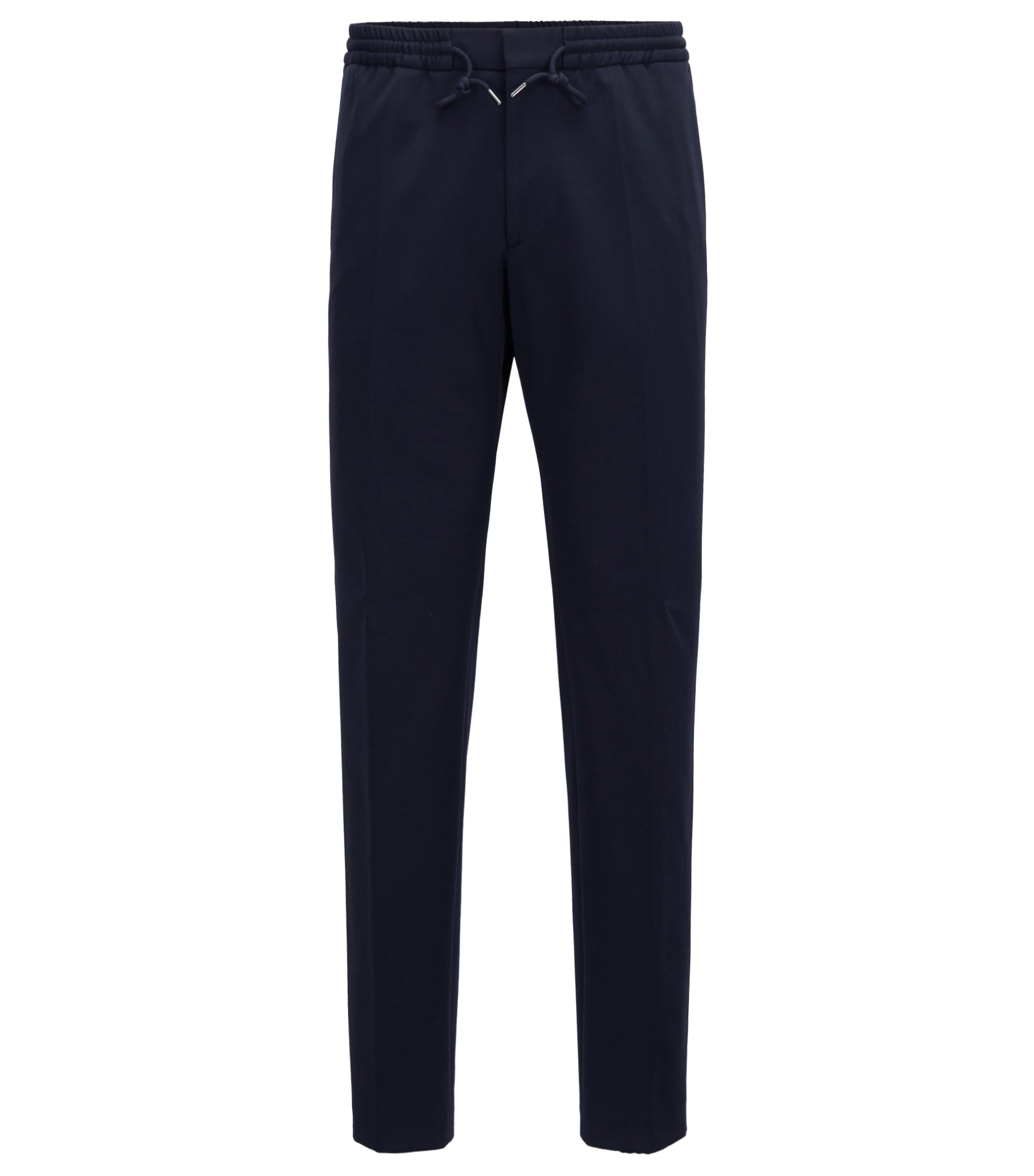 Slim-fit trousers in stretch fabric with elasticised waist, Dark Blue