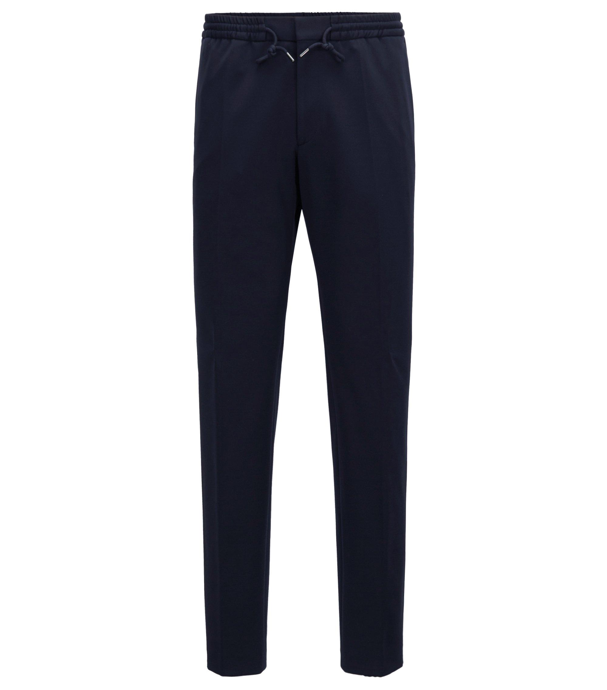 Pantalon Slim Fit en tissu stretch à taille élastique, Bleu foncé