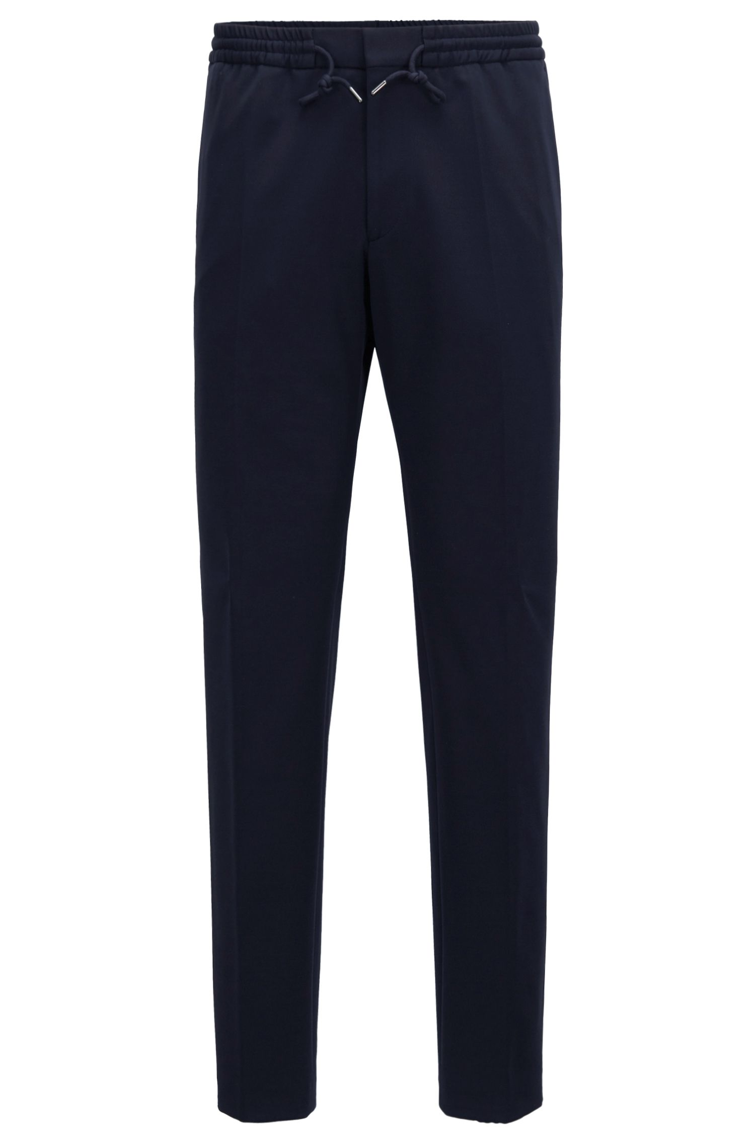 Slim-fit trousers in stretch fabric with elasticised waist