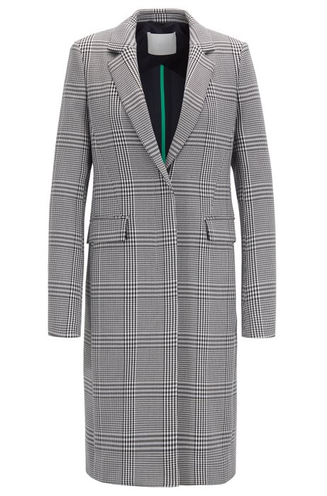Glen-plaid coat in stretch fabric, Patterned