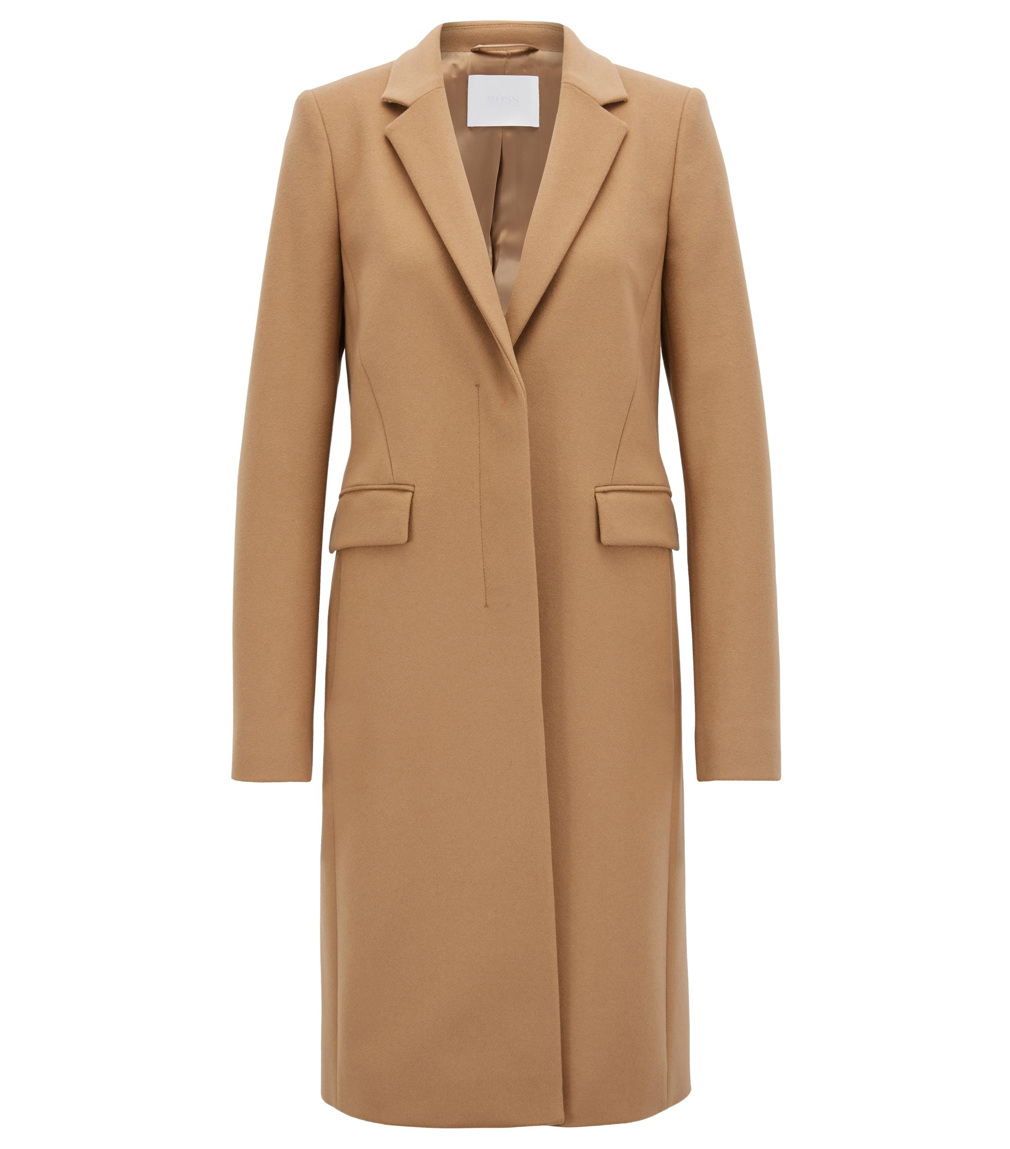 Blazer-style coat in Italian virgin wool and cashmere, Brown