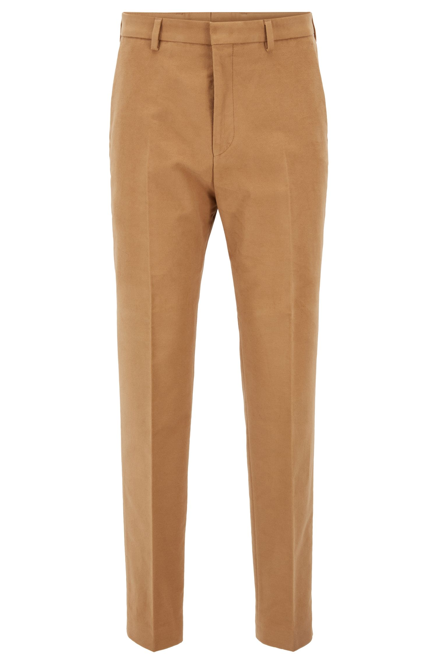 Slim-fit cropped trousers in stretch cotton, Khaki