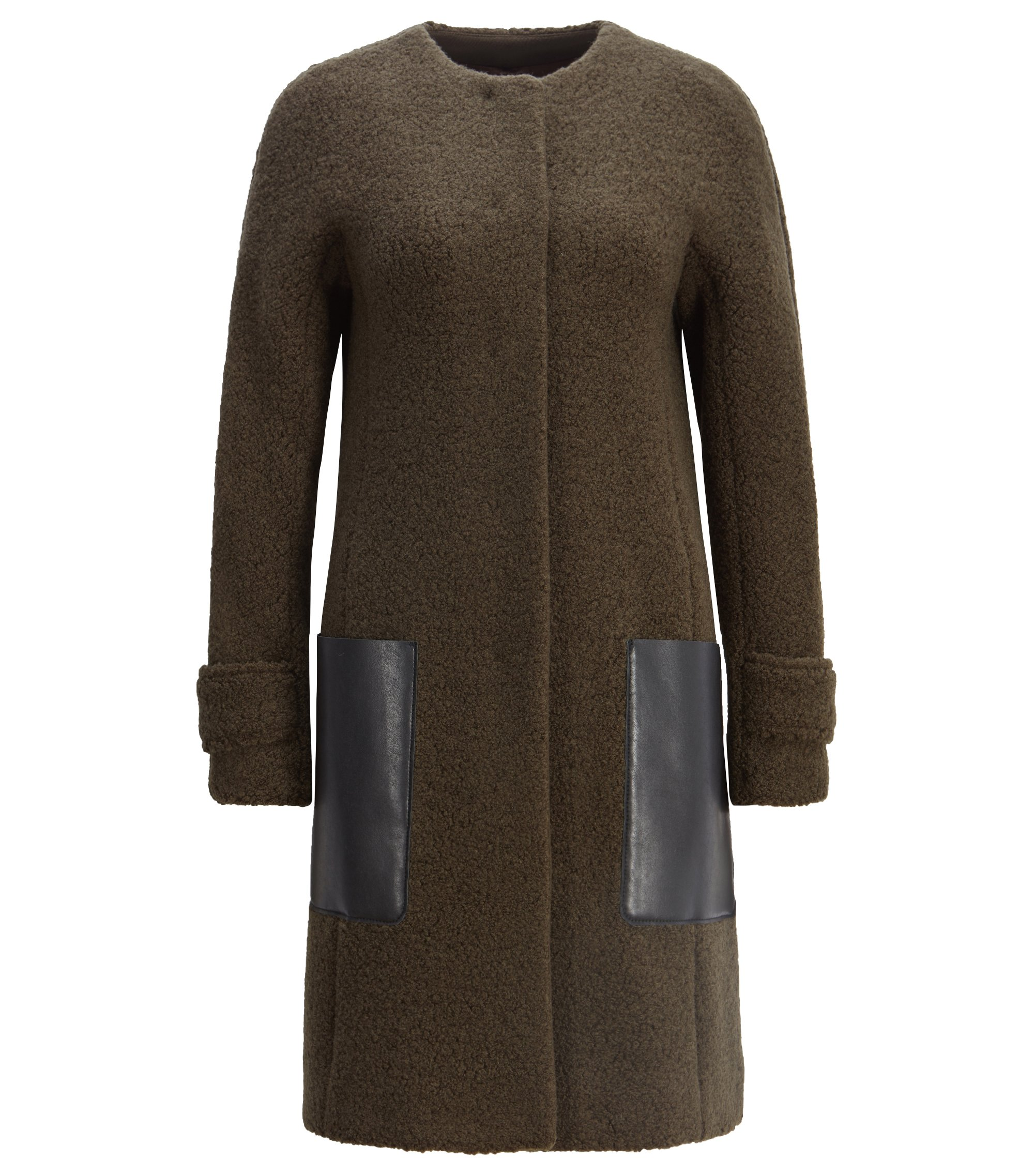 Wool-blend bouclé coat with faux-leather patch pockets, Dark Green