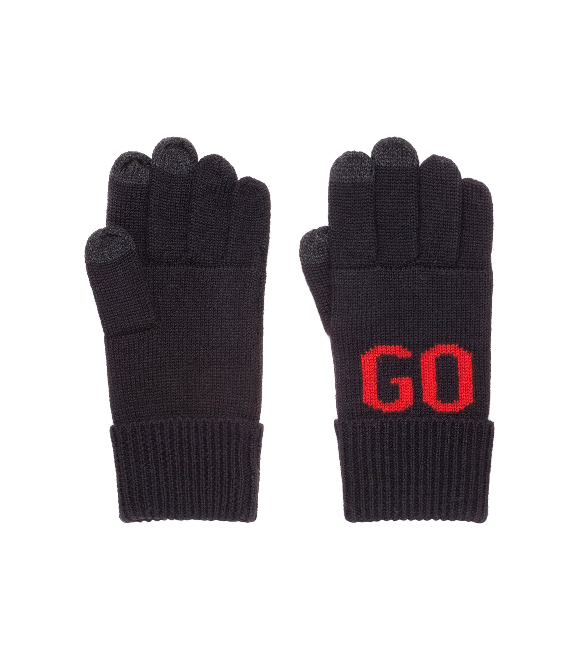 Wool-blend logo gloves with touchscreen fingers, Black