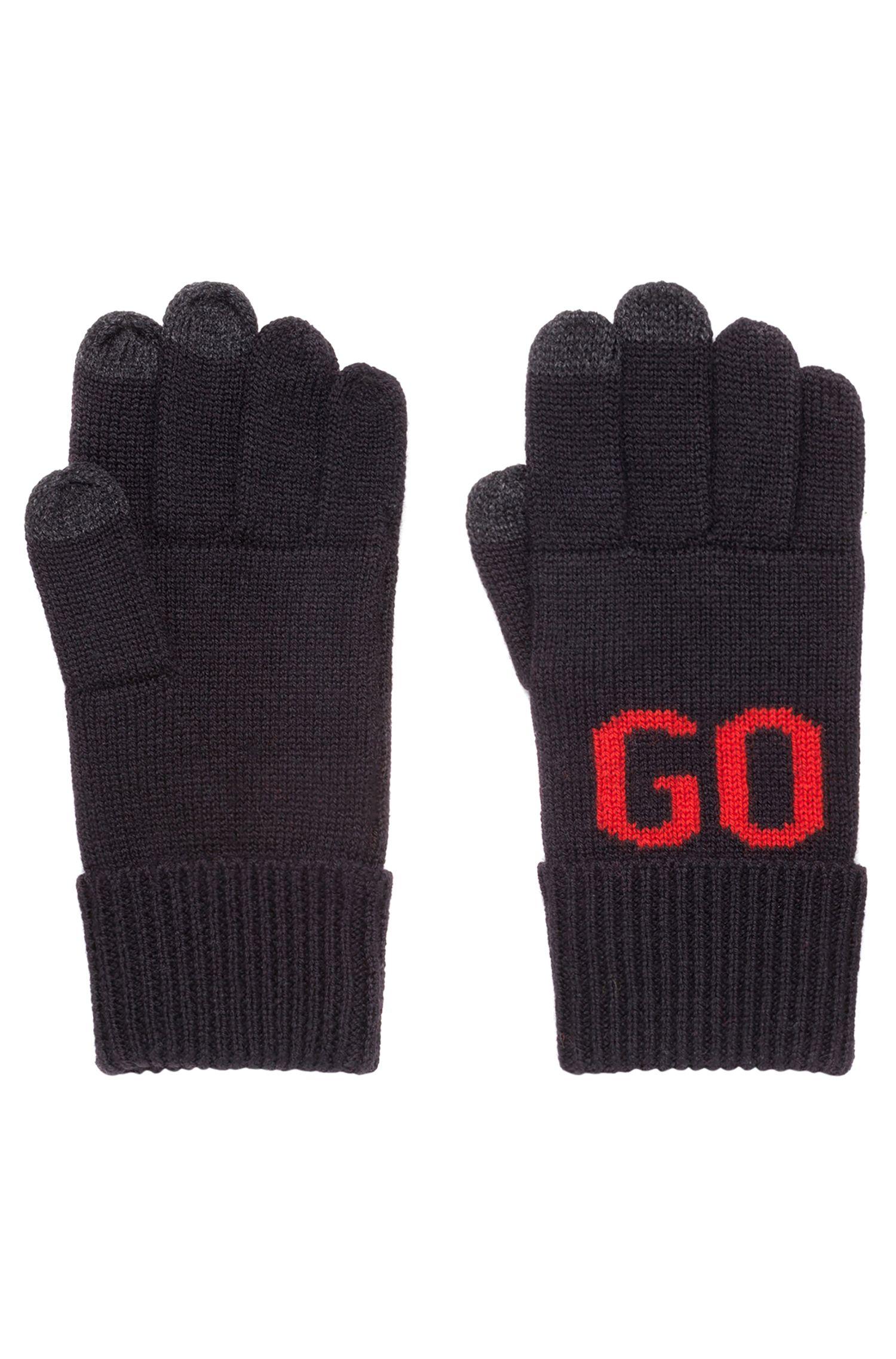 Handschuhe aus Woll-Mix mit Touchscreen-Funktion und Logo