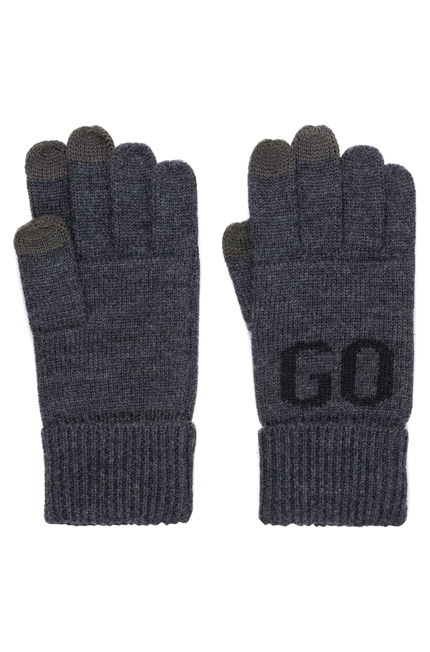 Wool-blend logo gloves with touchscreen fingers, Anthracite