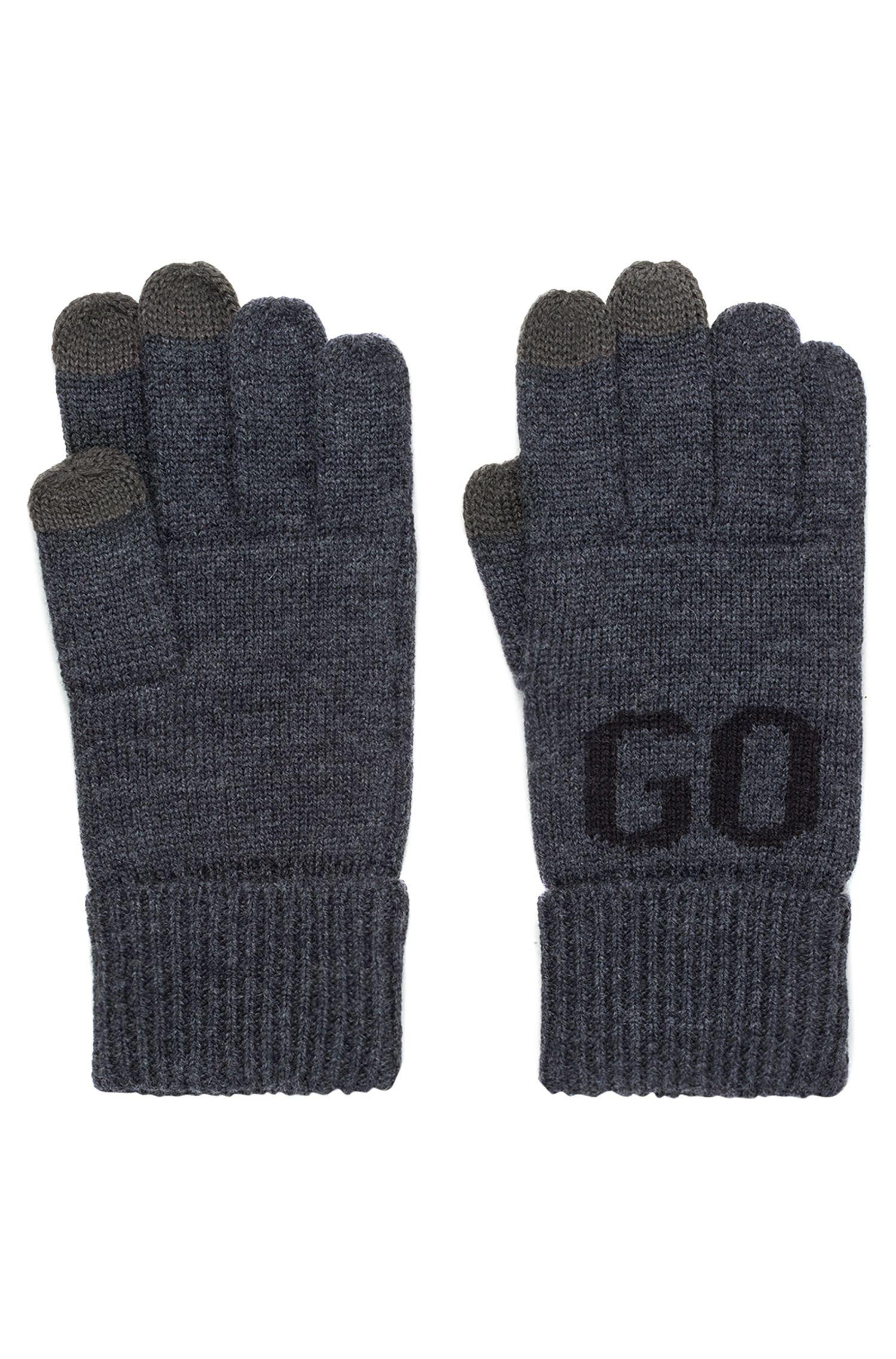 Gants en laine mélangée, avec logo et fonctionnalité écran tactile, Anthracite